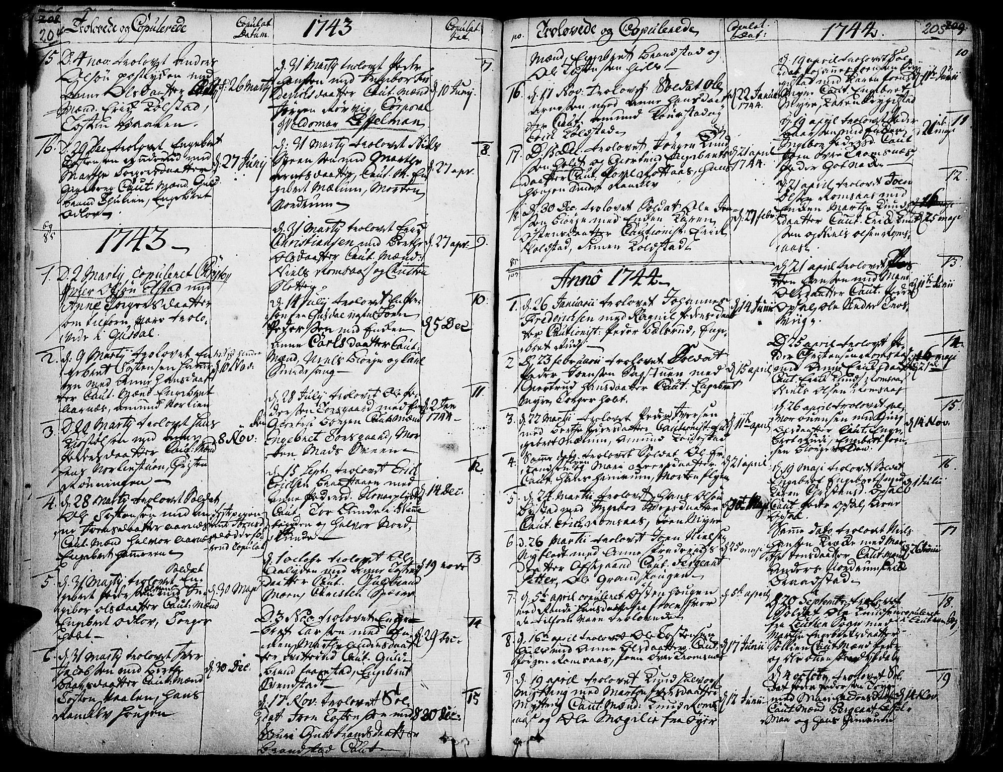 SAH, Ringebu prestekontor, Ministerialbok nr. 2, 1734-1780, s. 204-205