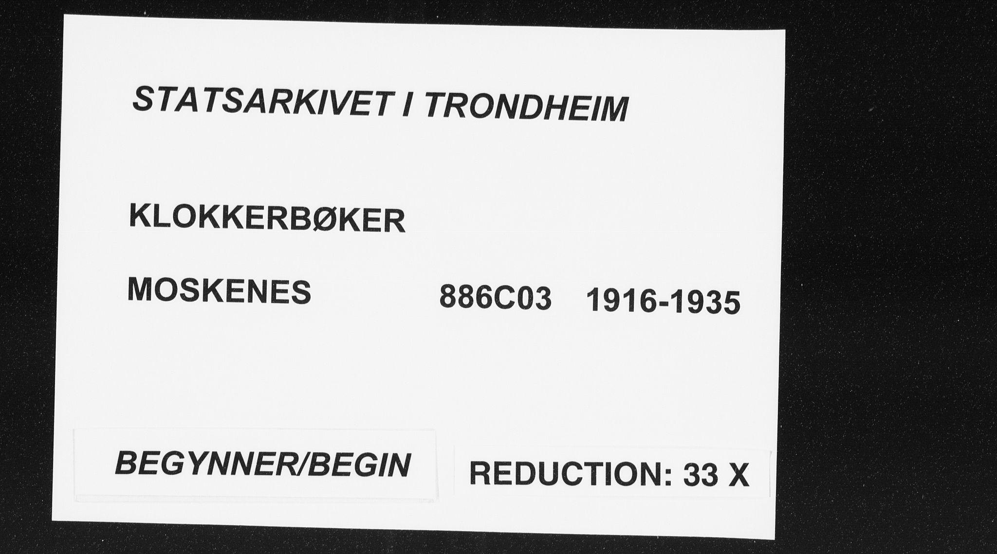 SAT, Ministerialprotokoller, klokkerbøker og fødselsregistre - Nordland, 886/L1226: Klokkerbok nr. 886C03, 1916-1935