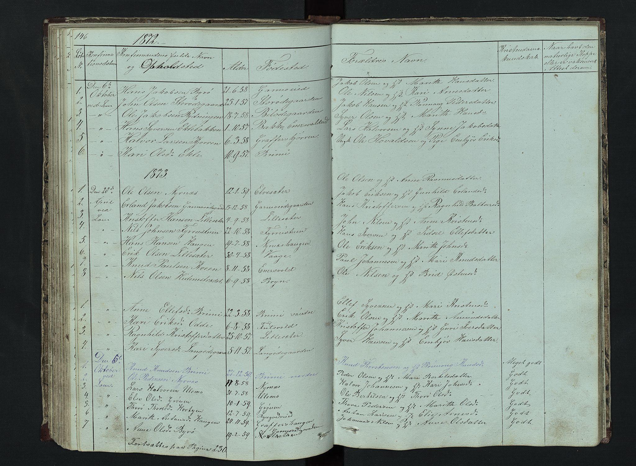 SAH, Lom prestekontor, L/L0014: Klokkerbok nr. 14, 1845-1876, s. 146-147