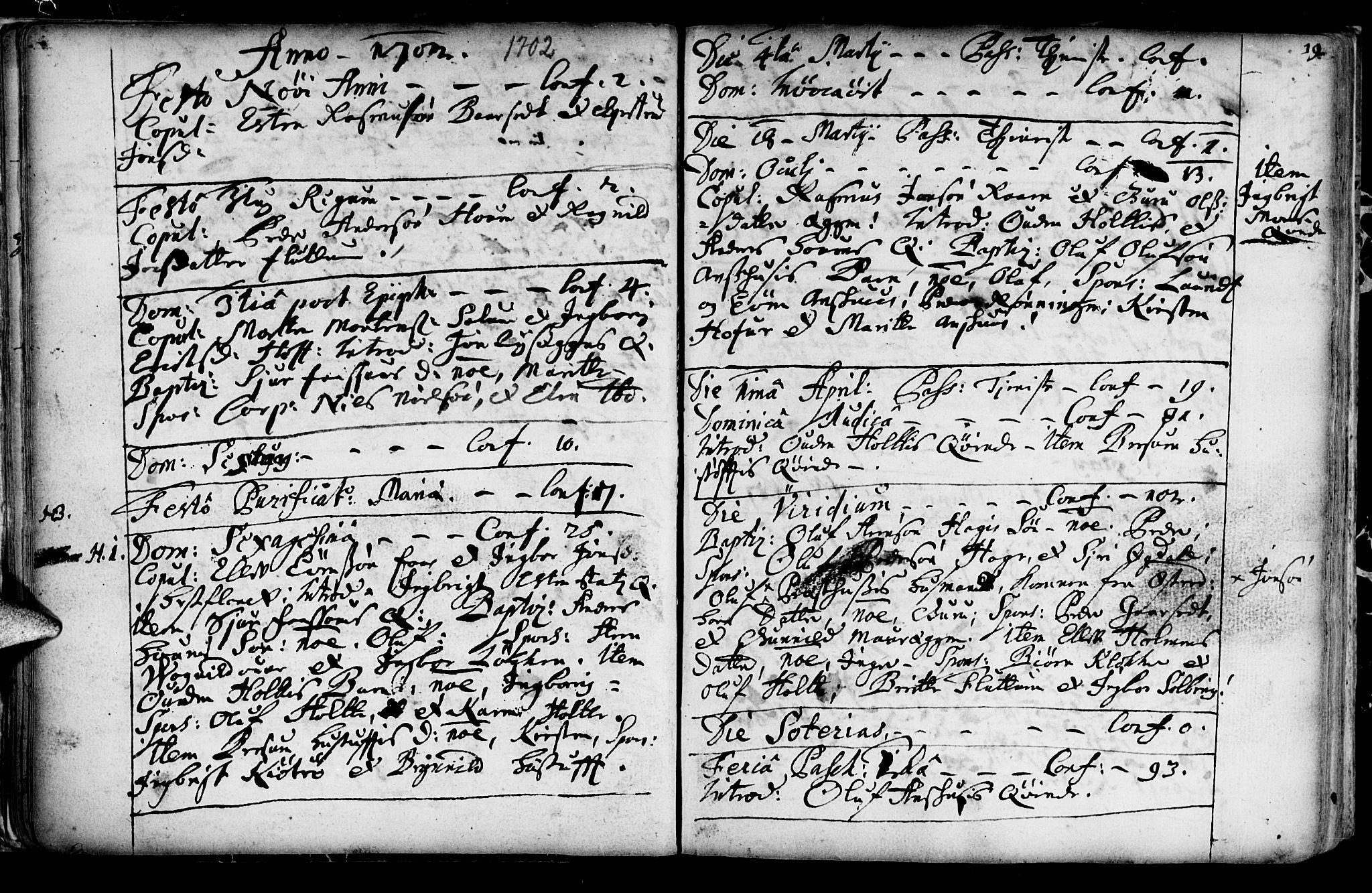 SAT, Ministerialprotokoller, klokkerbøker og fødselsregistre - Sør-Trøndelag, 689/L1036: Ministerialbok nr. 689A01, 1696-1746, s. 19