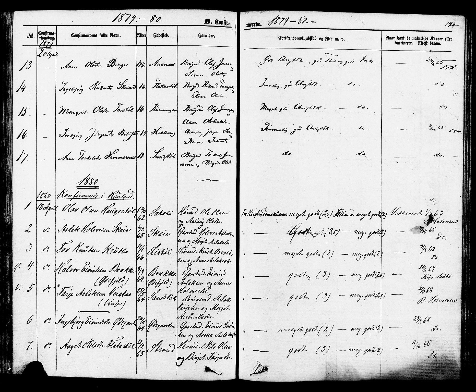 SAKO, Rauland kirkebøker, F/Fa/L0003: Ministerialbok nr. 3, 1859-1886, s. 194