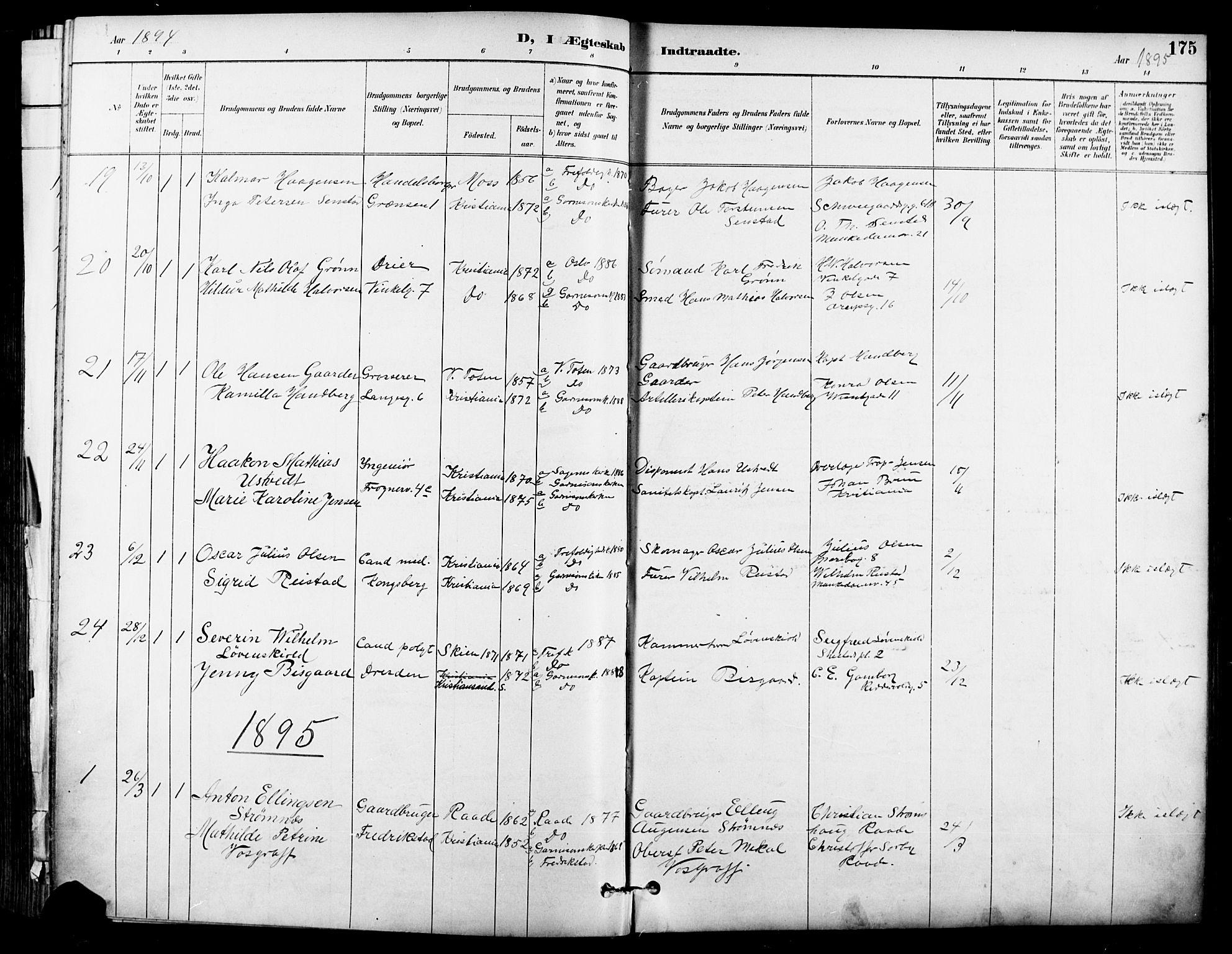 SAO, Garnisonsmenigheten Kirkebøker, F/Fa/L0013: Ministerialbok nr. 13, 1894-1904, s. 175