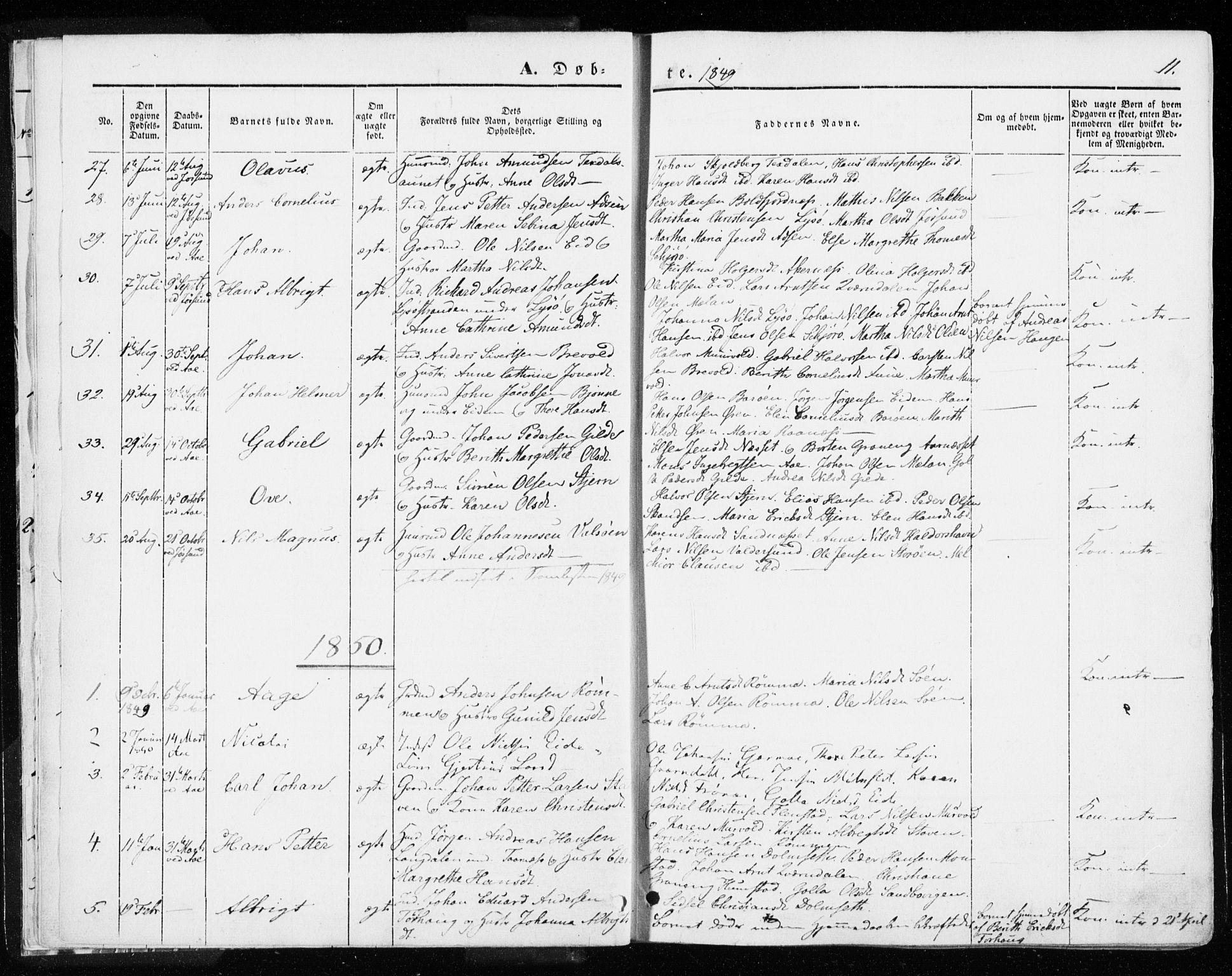 SAT, Ministerialprotokoller, klokkerbøker og fødselsregistre - Sør-Trøndelag, 655/L0677: Ministerialbok nr. 655A06, 1847-1860, s. 11