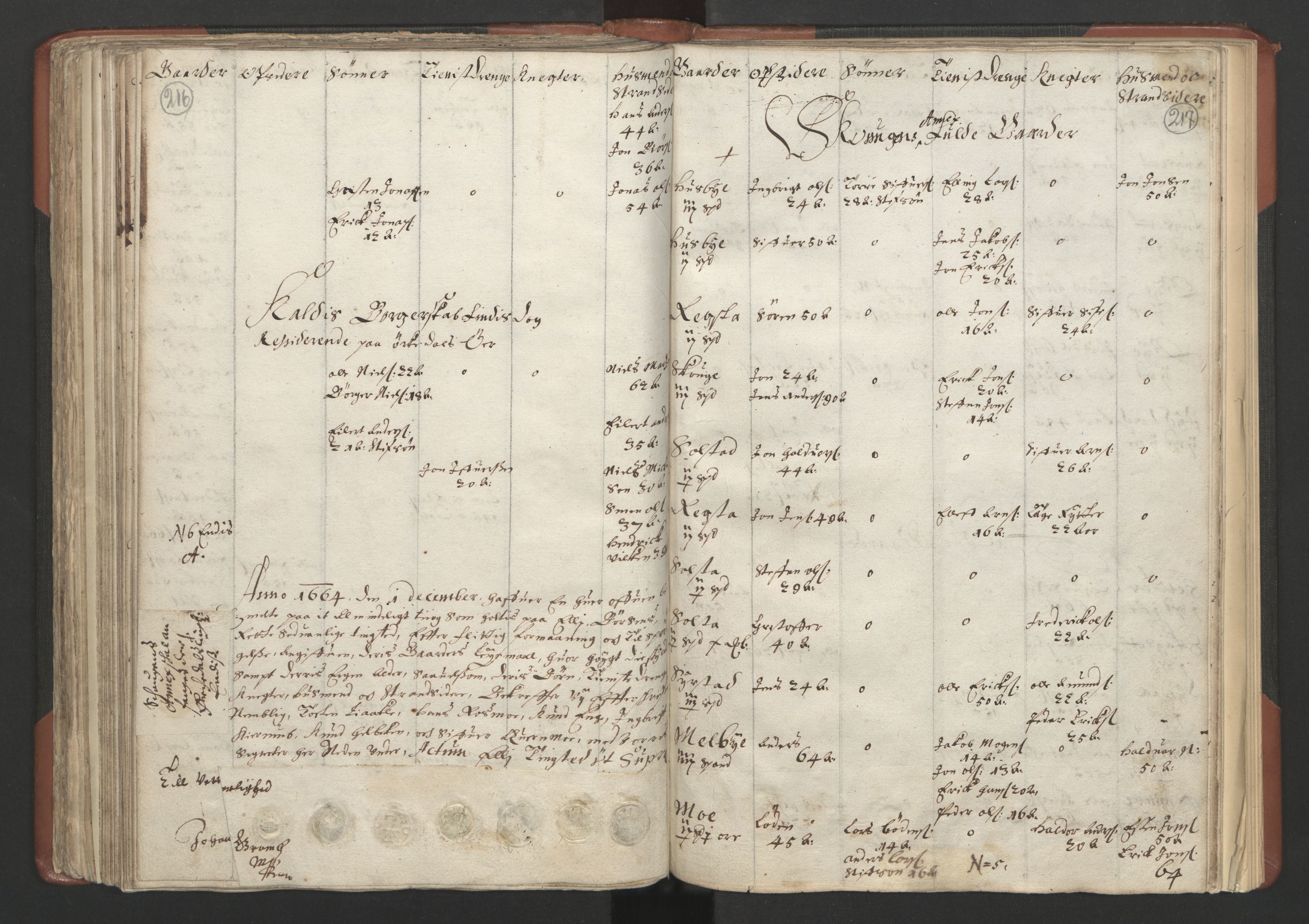 RA, Fogdenes og sorenskrivernes manntall 1664-1666, nr. 18: Gauldal fogderi, Strinda fogderi og Orkdal fogderi, 1664, s. 216-217