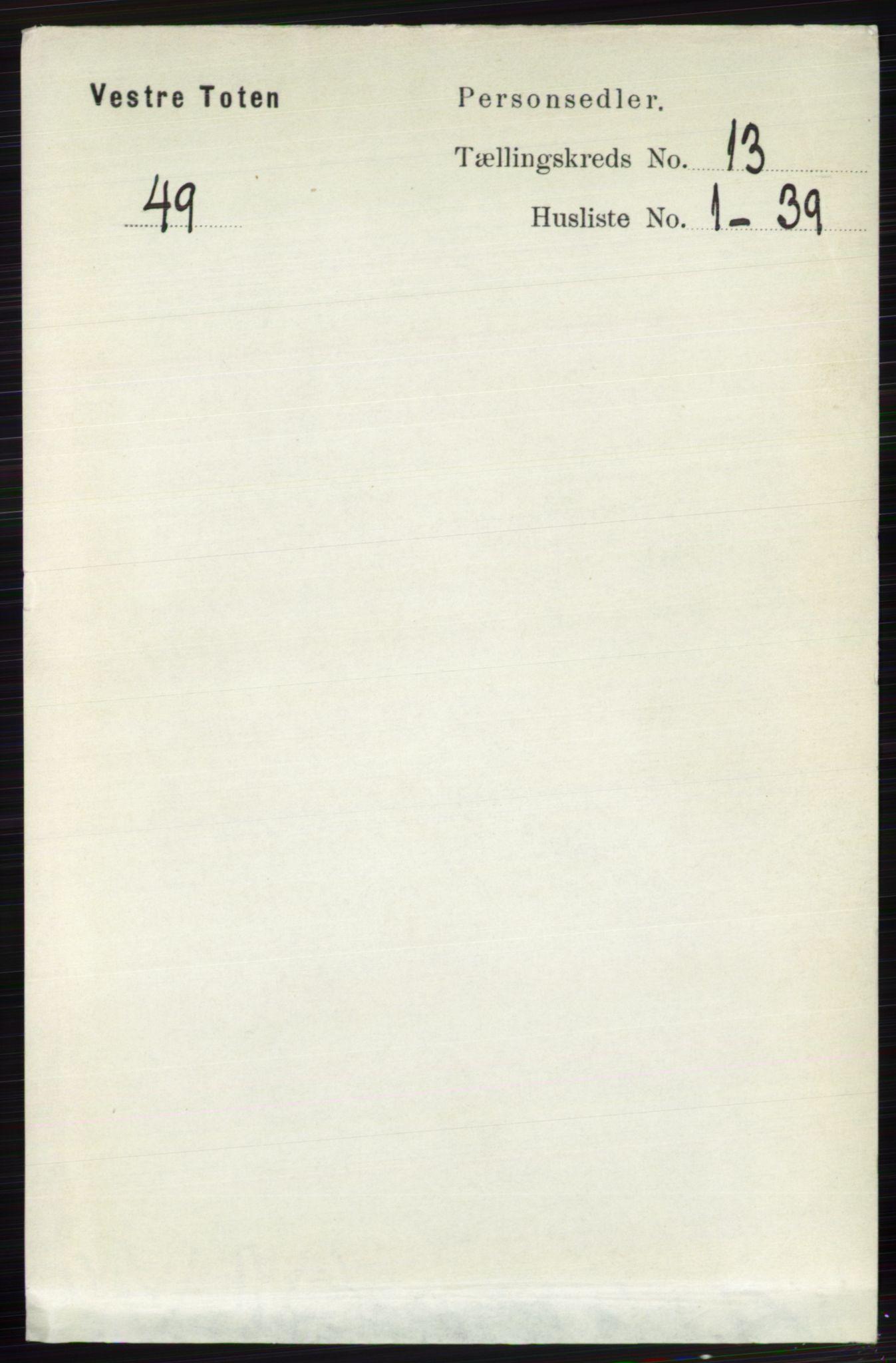 RA, Folketelling 1891 for 0529 Vestre Toten herred, 1891, s. 7813