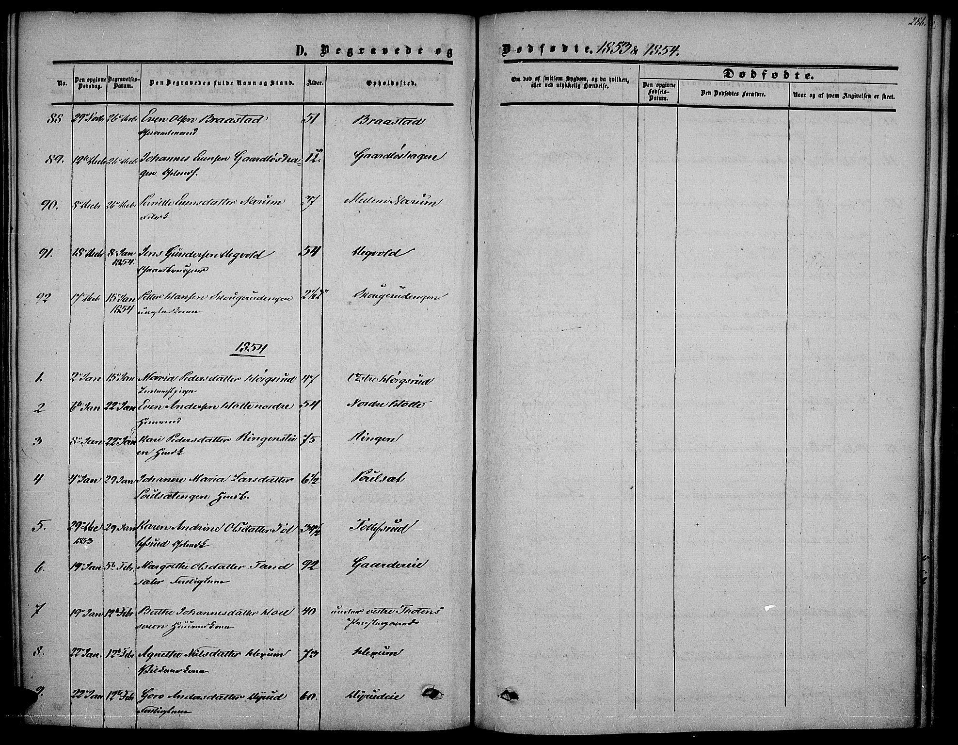 SAH, Vestre Toten prestekontor, H/Ha/Haa/L0005: Ministerialbok nr. 5, 1850-1855, s. 286