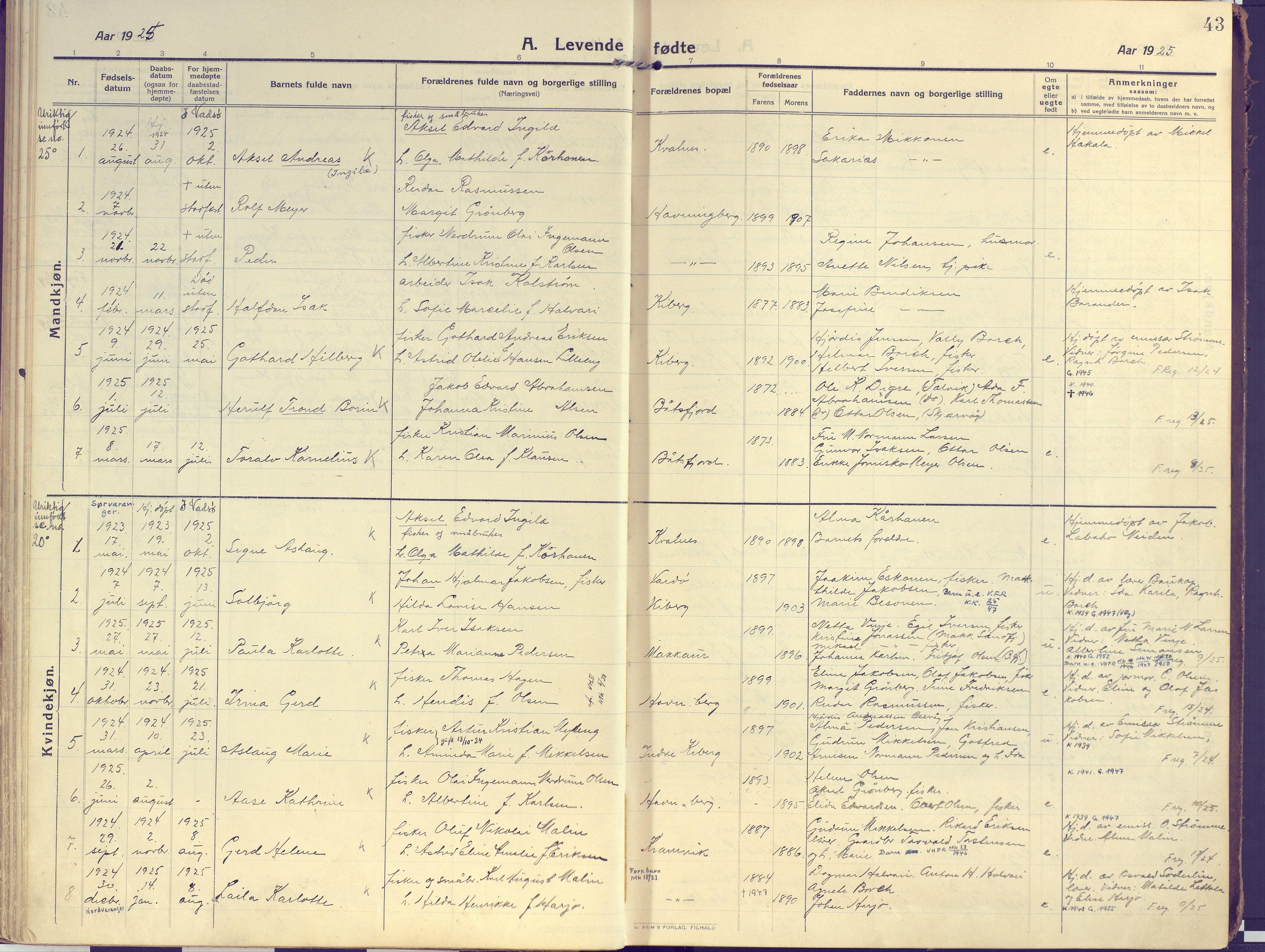 SATØ, Vardø sokneprestkontor, H/Ha/L0013kirke: Ministerialbok nr. 13, 1912-1928, s. 43