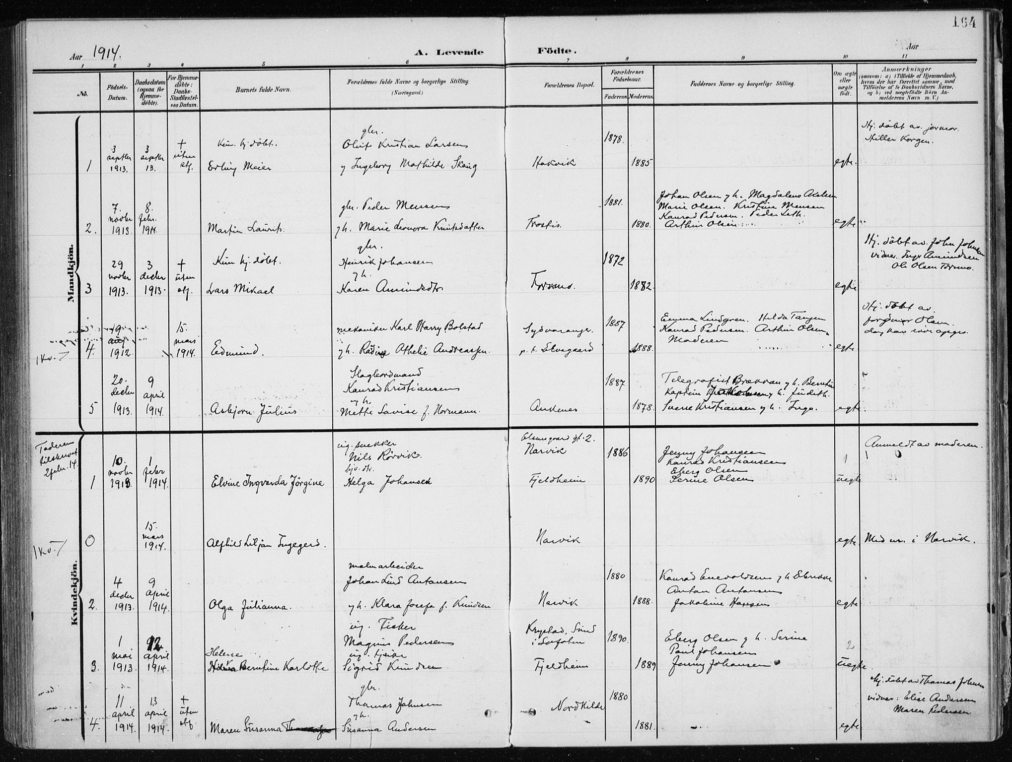 SAT, Ministerialprotokoller, klokkerbøker og fødselsregistre - Nordland, 866/L0941: Ministerialbok nr. 866A04, 1901-1917, s. 164