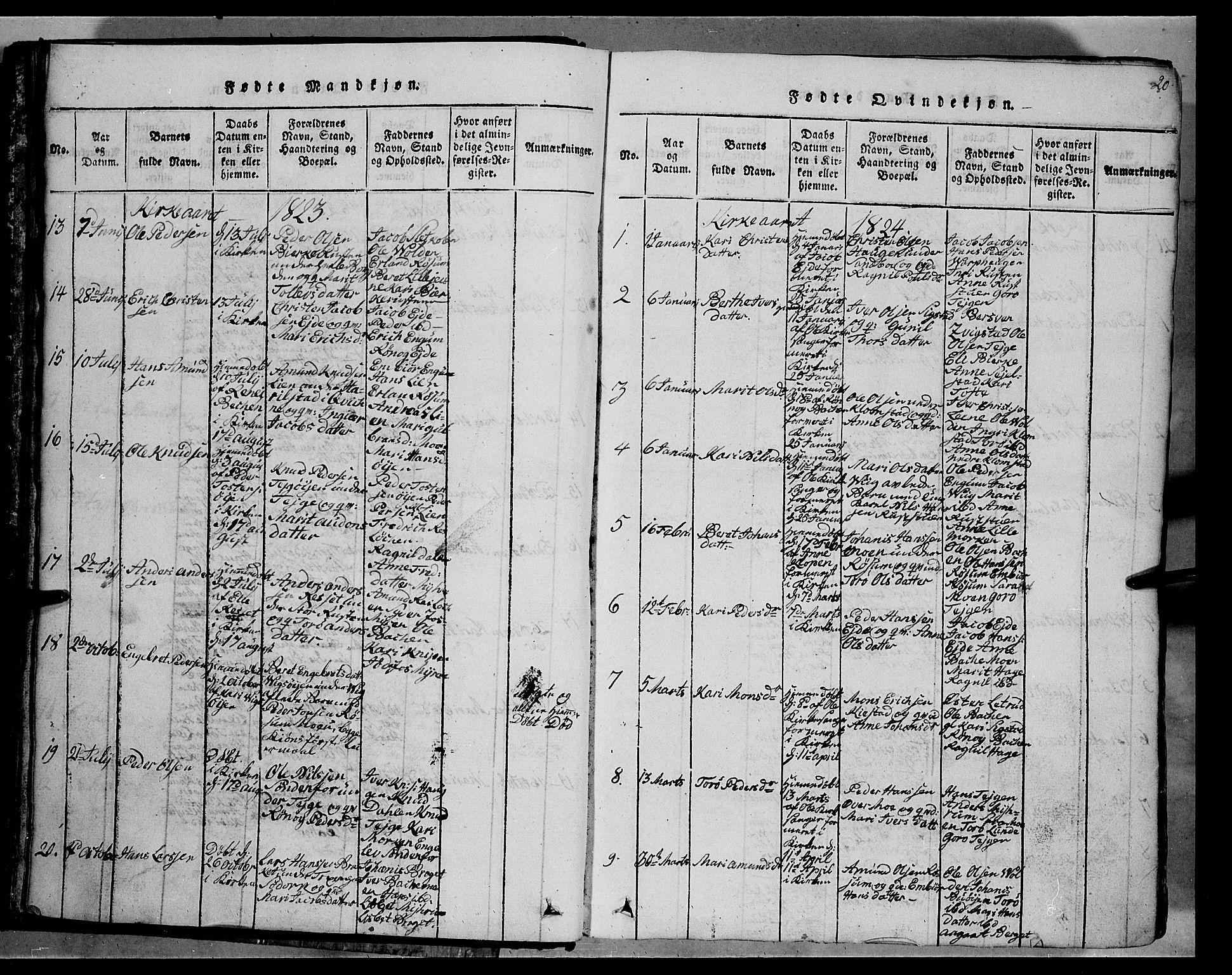 SAH, Fron prestekontor, H/Ha/Hab/L0002: Klokkerbok nr. 2, 1816-1850, s. 20