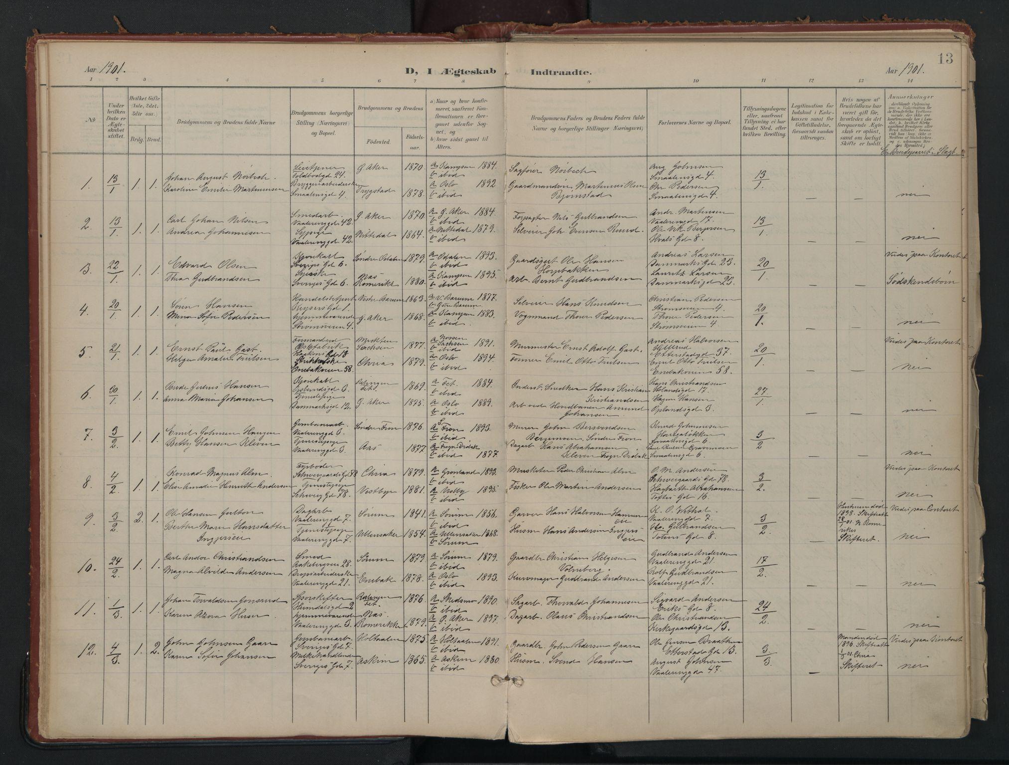 SAO, Vålerengen prestekontor Kirkebøker, F/Fa/L0002: Ministerialbok nr. 2, 1899-1924, s. 13