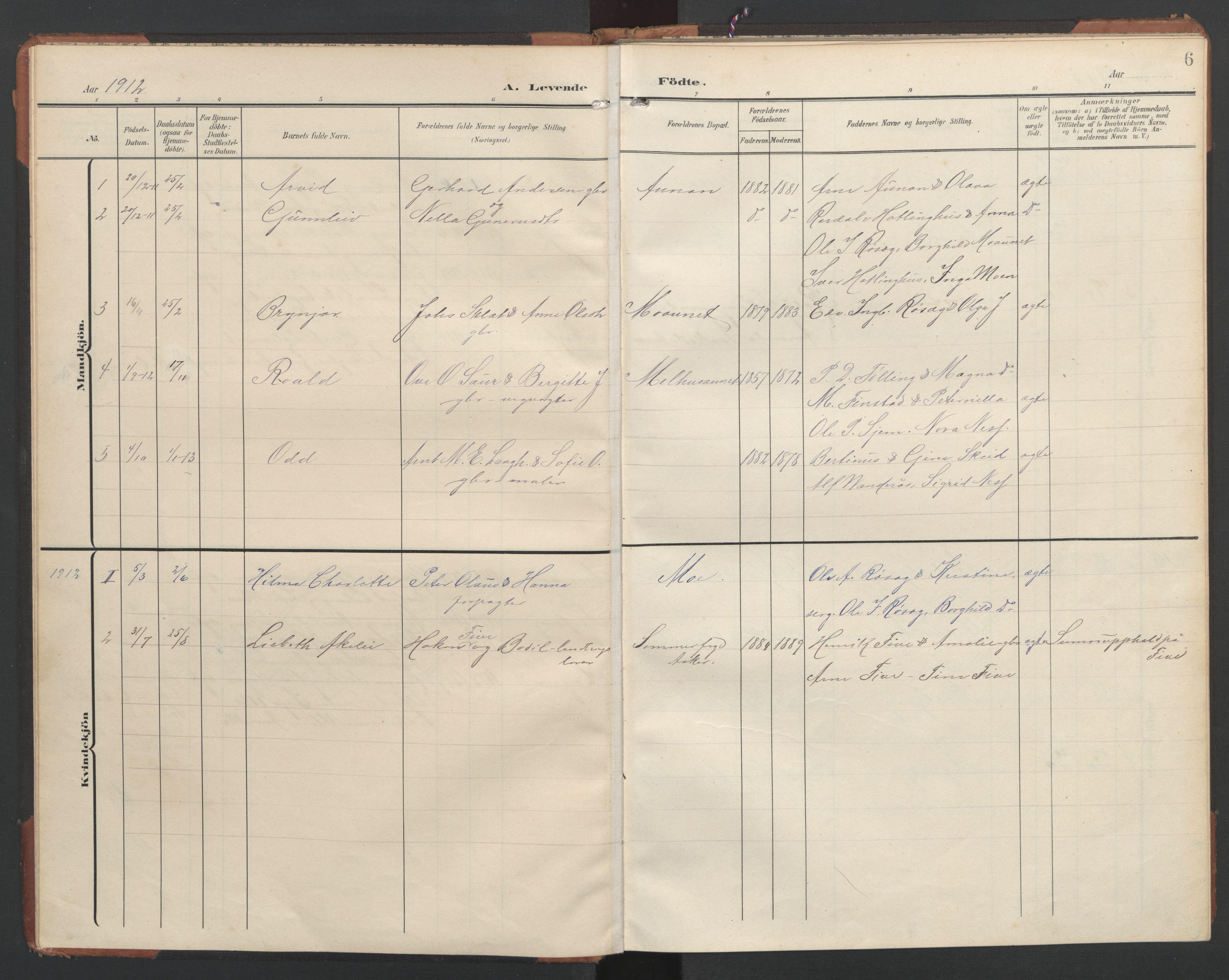 SAT, Ministerialprotokoller, klokkerbøker og fødselsregistre - Nord-Trøndelag, 748/L0465: Klokkerbok nr. 748C01, 1908-1960, s. 6