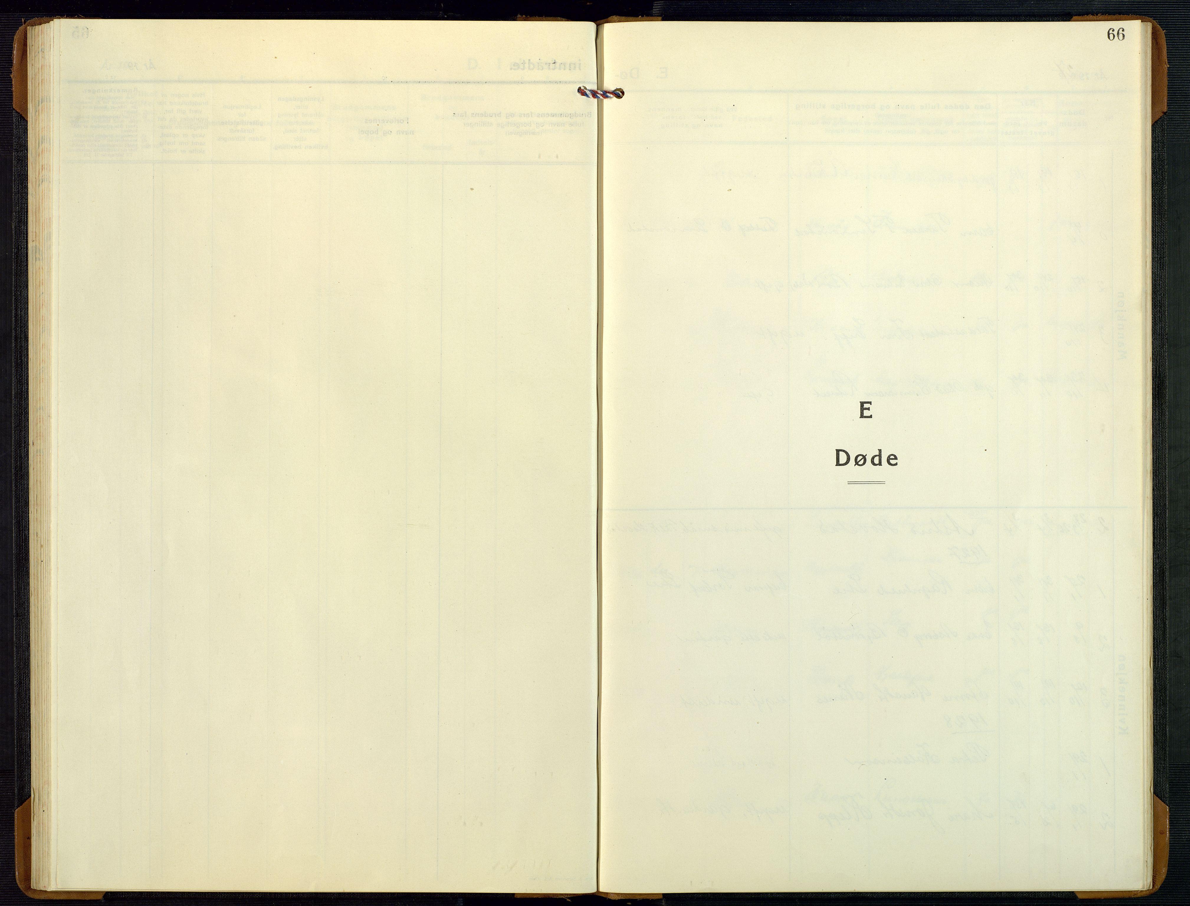 SAK, Bygland sokneprestkontor, F/Fb/Fbd/L0004: Klokkerbok nr. B 4, 1926-1971, s. 66