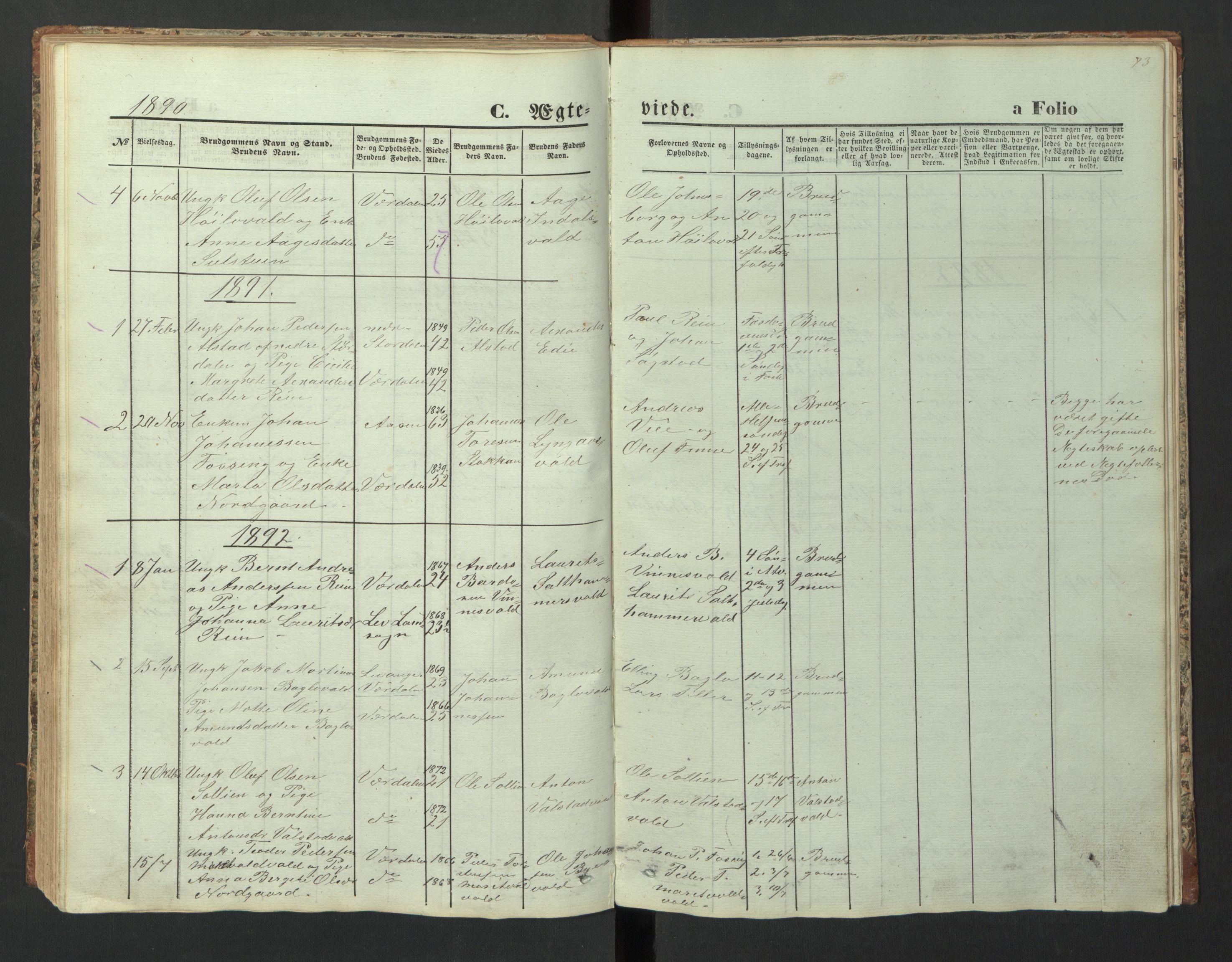 SAT, Ministerialprotokoller, klokkerbøker og fødselsregistre - Nord-Trøndelag, 726/L0271: Klokkerbok nr. 726C02, 1869-1897, s. 73
