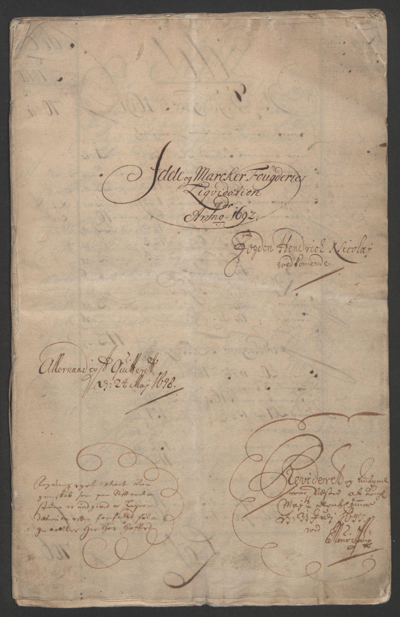 RA, Rentekammeret inntil 1814, Reviderte regnskaper, Fogderegnskap, R01/L0011: Fogderegnskap Idd og Marker, 1692-1693, s. 3