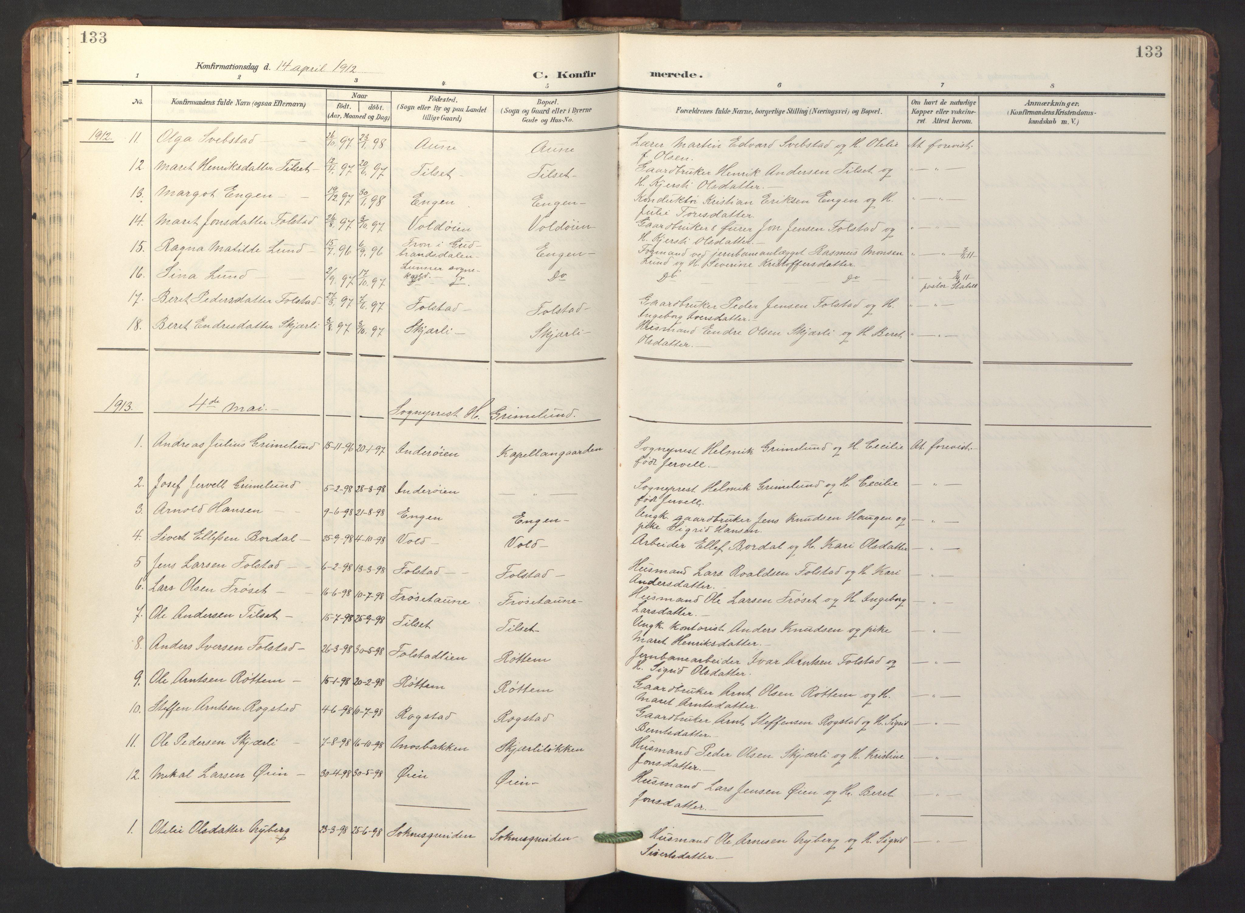 SAT, Ministerialprotokoller, klokkerbøker og fødselsregistre - Sør-Trøndelag, 687/L1019: Klokkerbok nr. 687C03, 1904-1931, s. 133