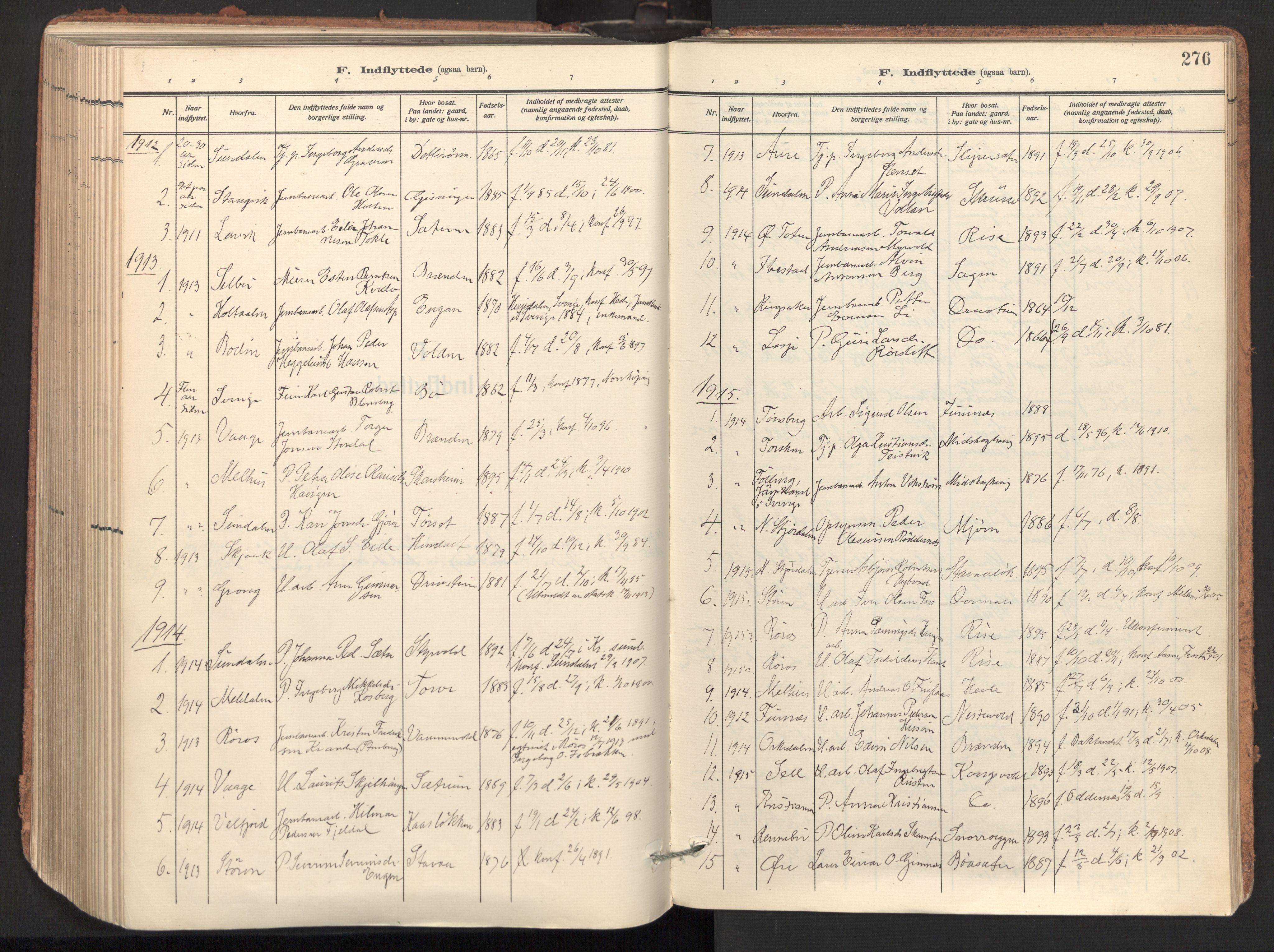 SAT, Ministerialprotokoller, klokkerbøker og fødselsregistre - Sør-Trøndelag, 678/L0909: Ministerialbok nr. 678A17, 1912-1930, s. 276