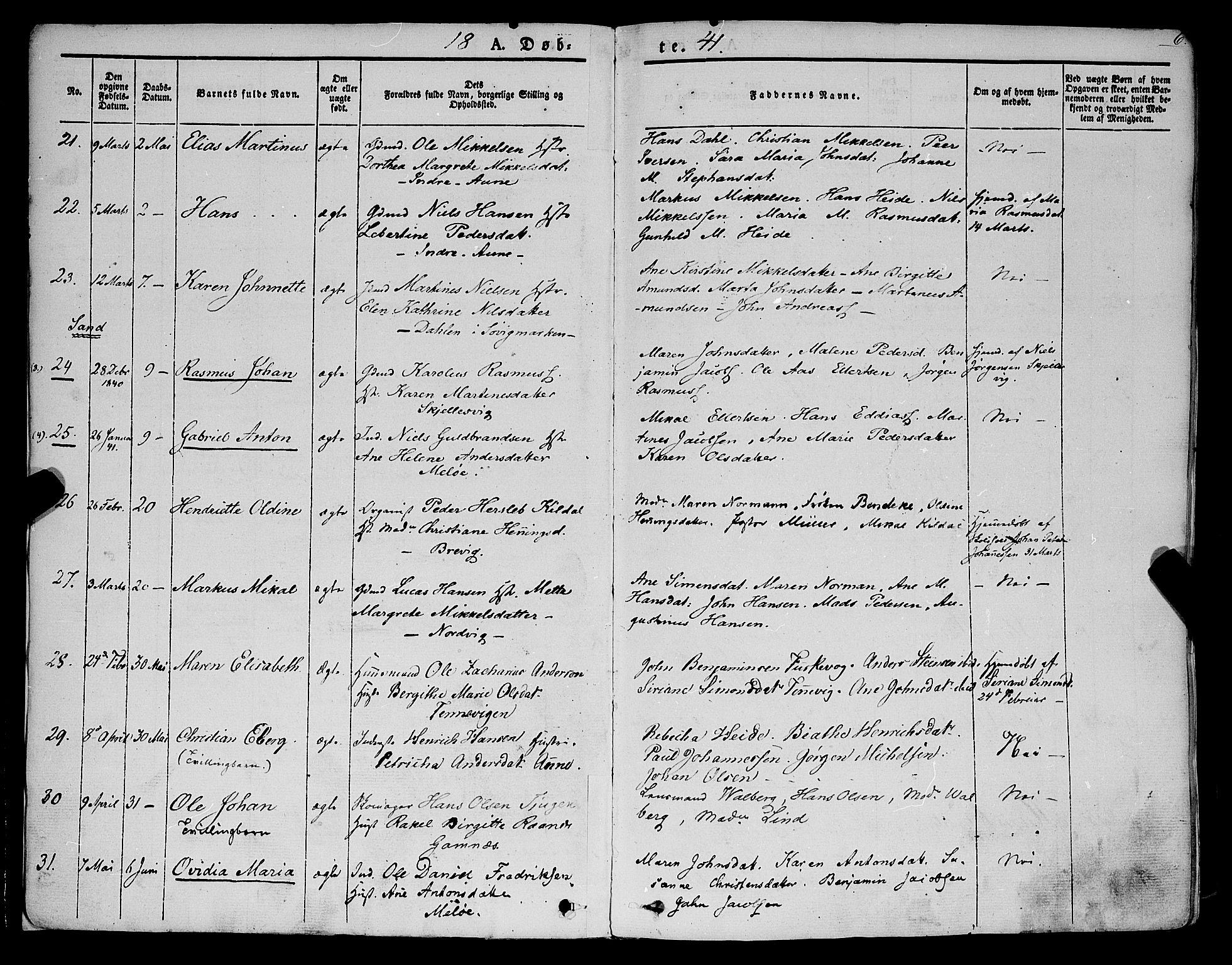 SATØ, Trondenes sokneprestkontor, H/Ha/L0009kirke: Ministerialbok nr. 9, 1841-1852, s. 6