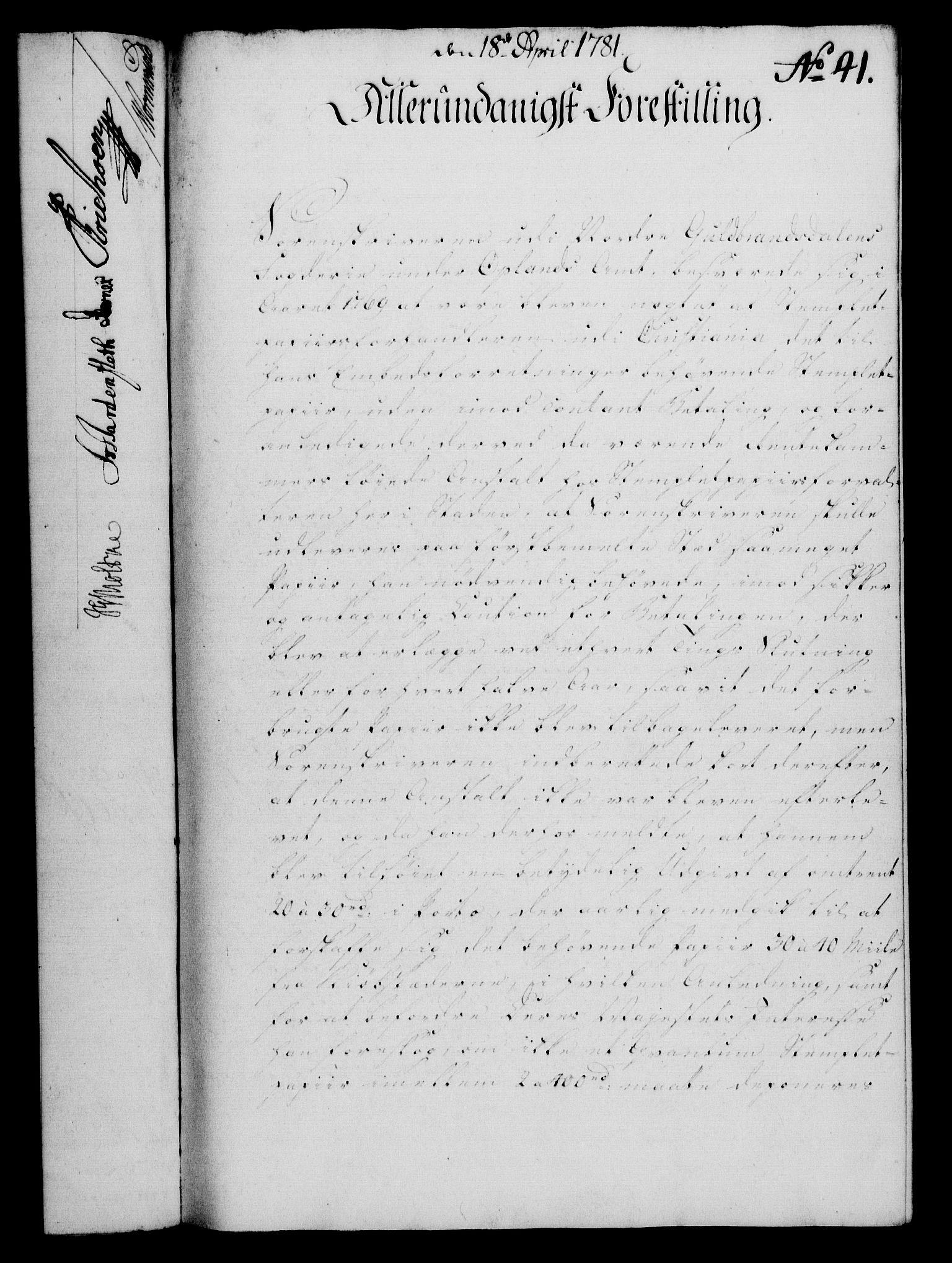 RA, Rentekammeret, Kammerkanselliet, G/Gf/Gfa/L0063: Norsk relasjons- og resolusjonsprotokoll (merket RK 52.63), 1781, s. 414