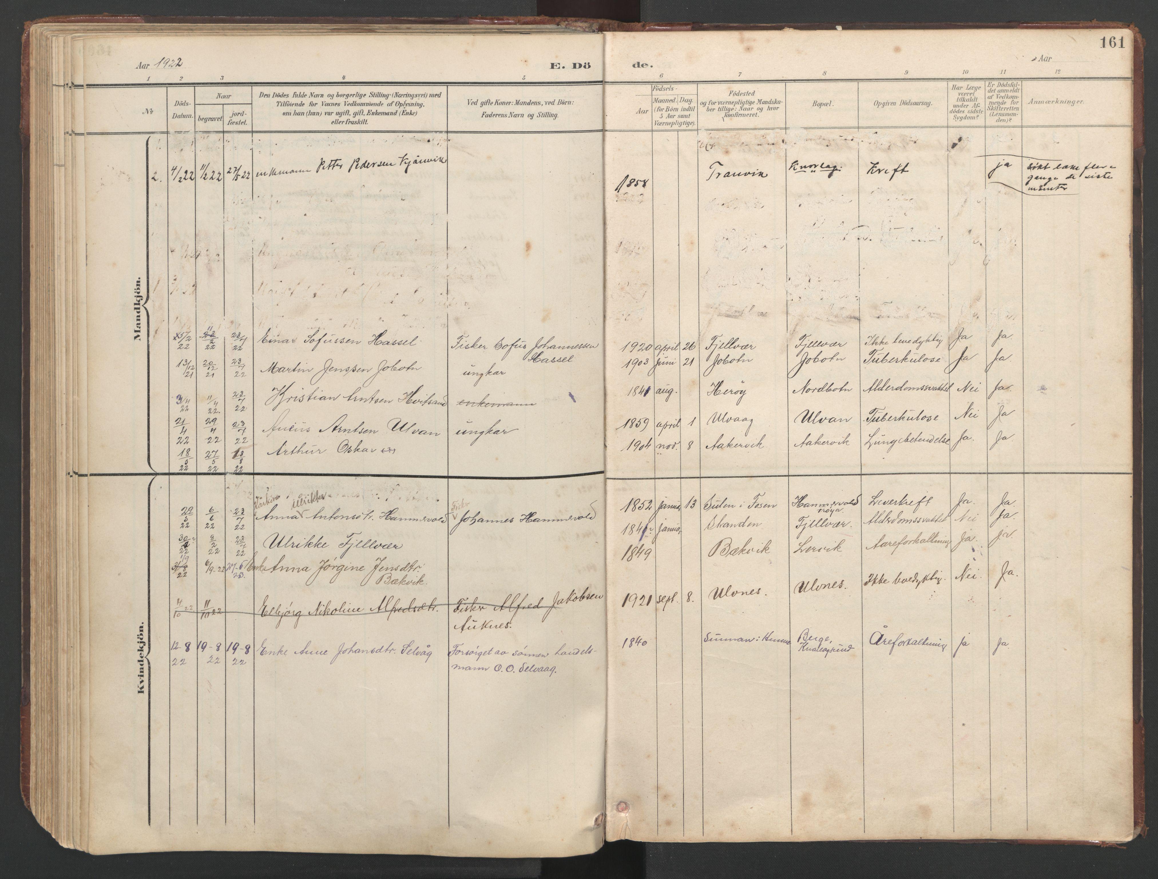 SAT, Ministerialprotokoller, klokkerbøker og fødselsregistre - Sør-Trøndelag, 638/L0571: Klokkerbok nr. 638C03, 1901-1930, s. 161