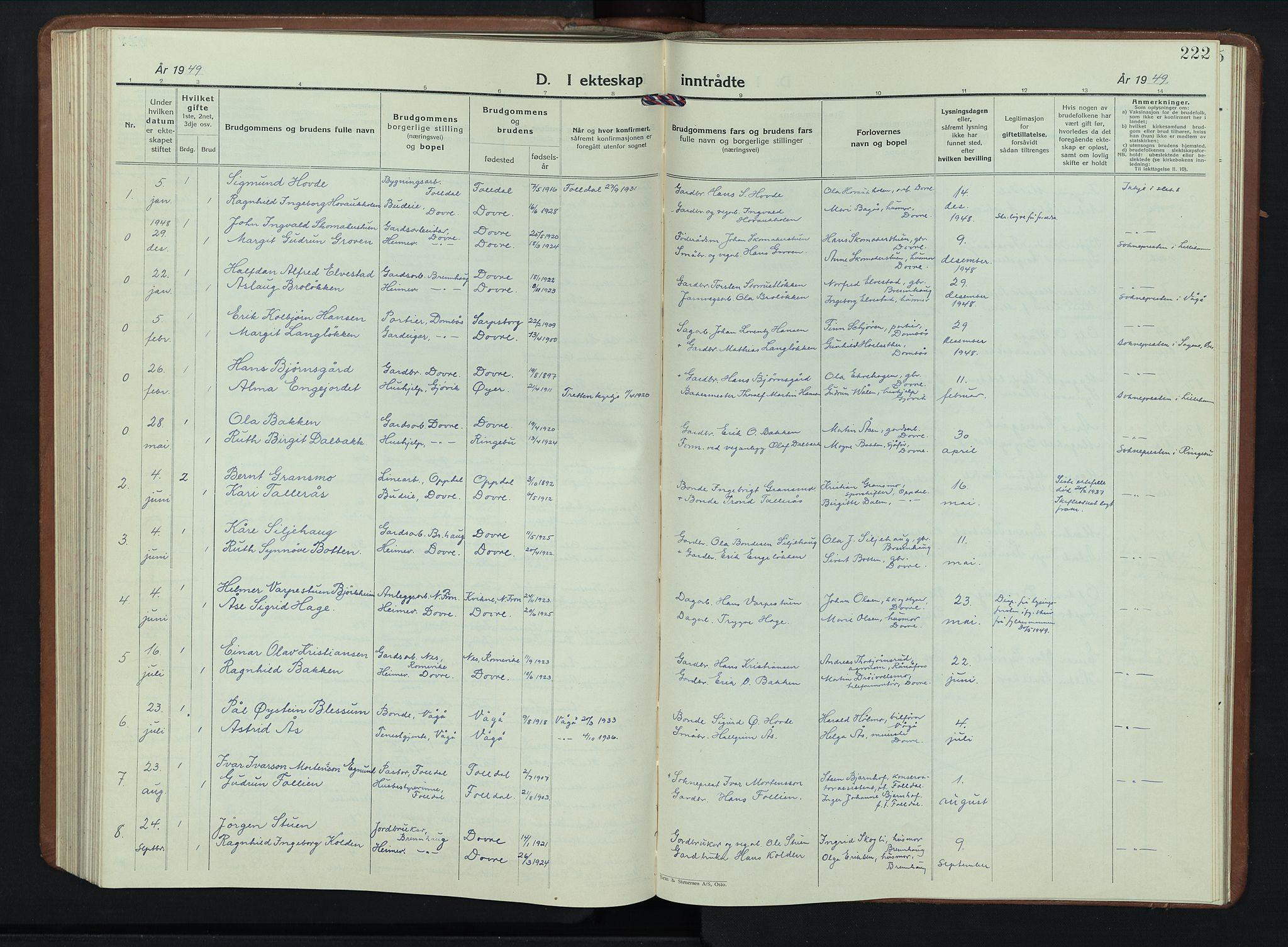SAH, Dovre prestekontor, Klokkerbok nr. 4, 1926-1949, s. 222