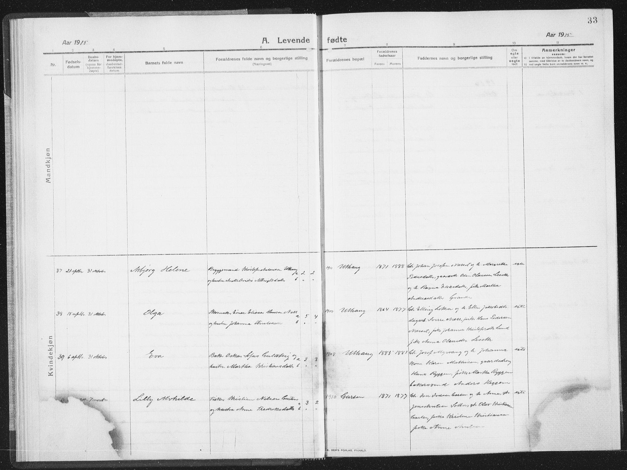 SAT, Ministerialprotokoller, klokkerbøker og fødselsregistre - Sør-Trøndelag, 659/L0747: Klokkerbok nr. 659C04, 1913-1938, s. 33