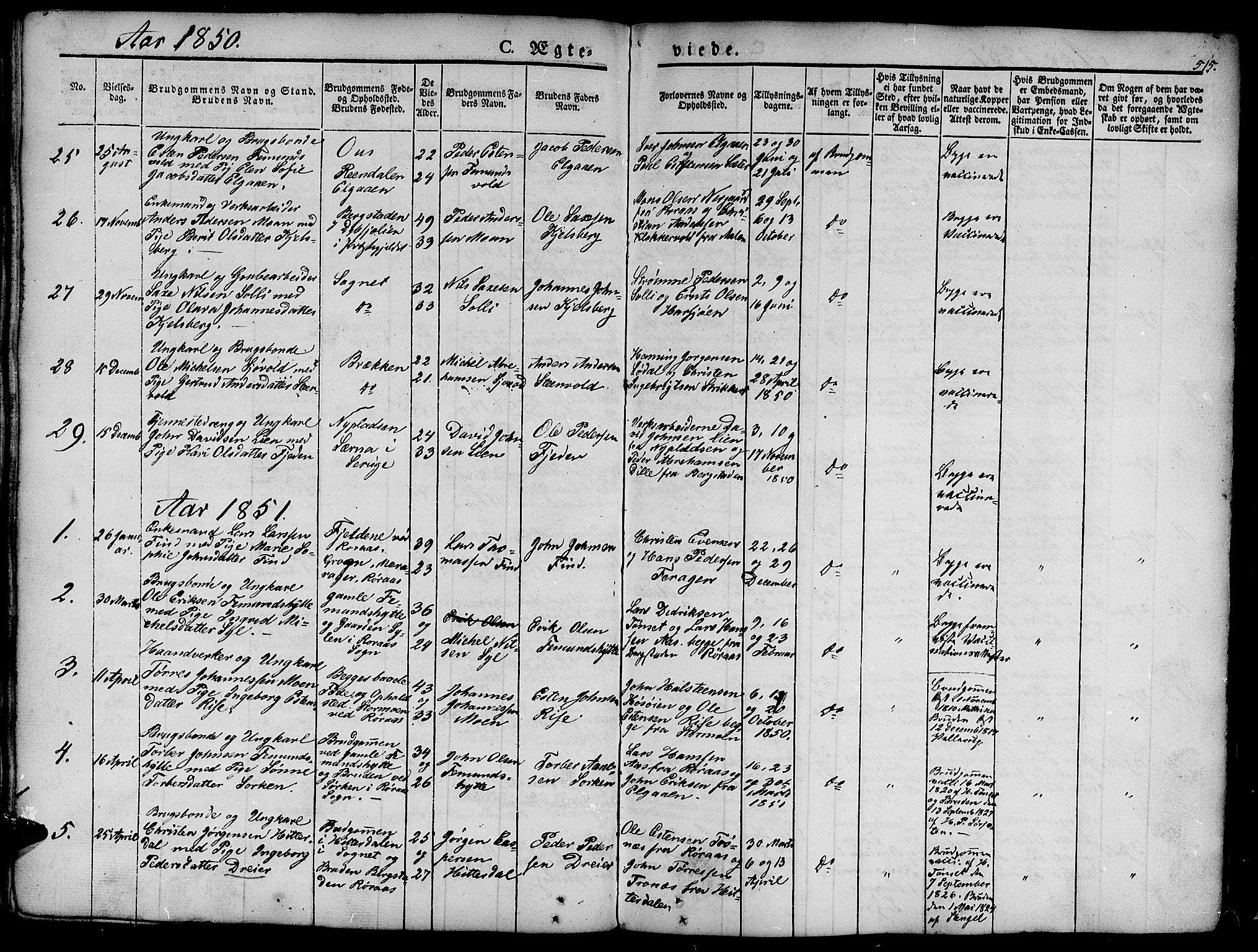 SAT, Ministerialprotokoller, klokkerbøker og fødselsregistre - Sør-Trøndelag, 681/L0939: Klokkerbok nr. 681C03, 1829-1855, s. 515