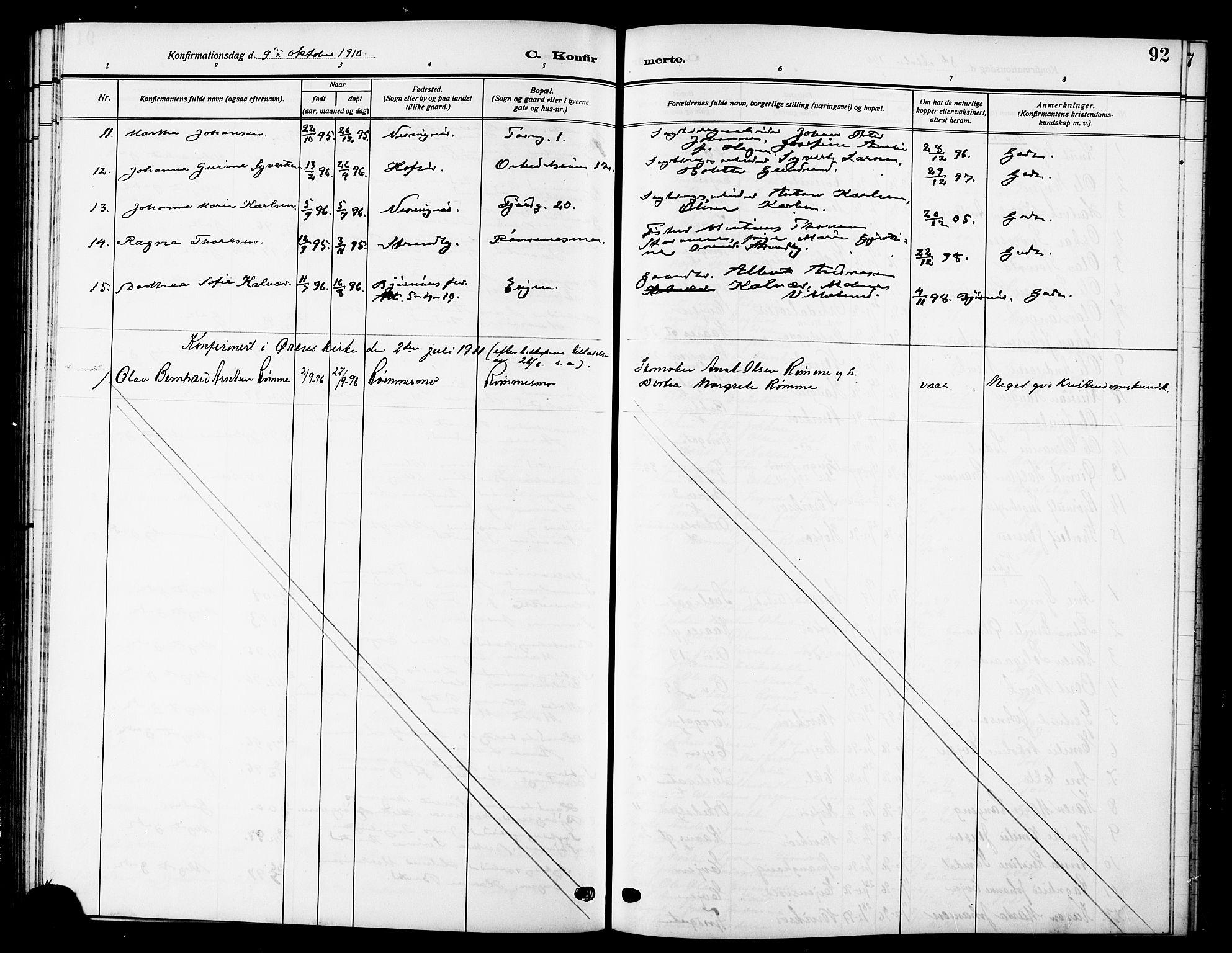 SAT, Ministerialprotokoller, klokkerbøker og fødselsregistre - Sør-Trøndelag, 669/L0831: Klokkerbok nr. 669C01, 1909-1924, s. 92