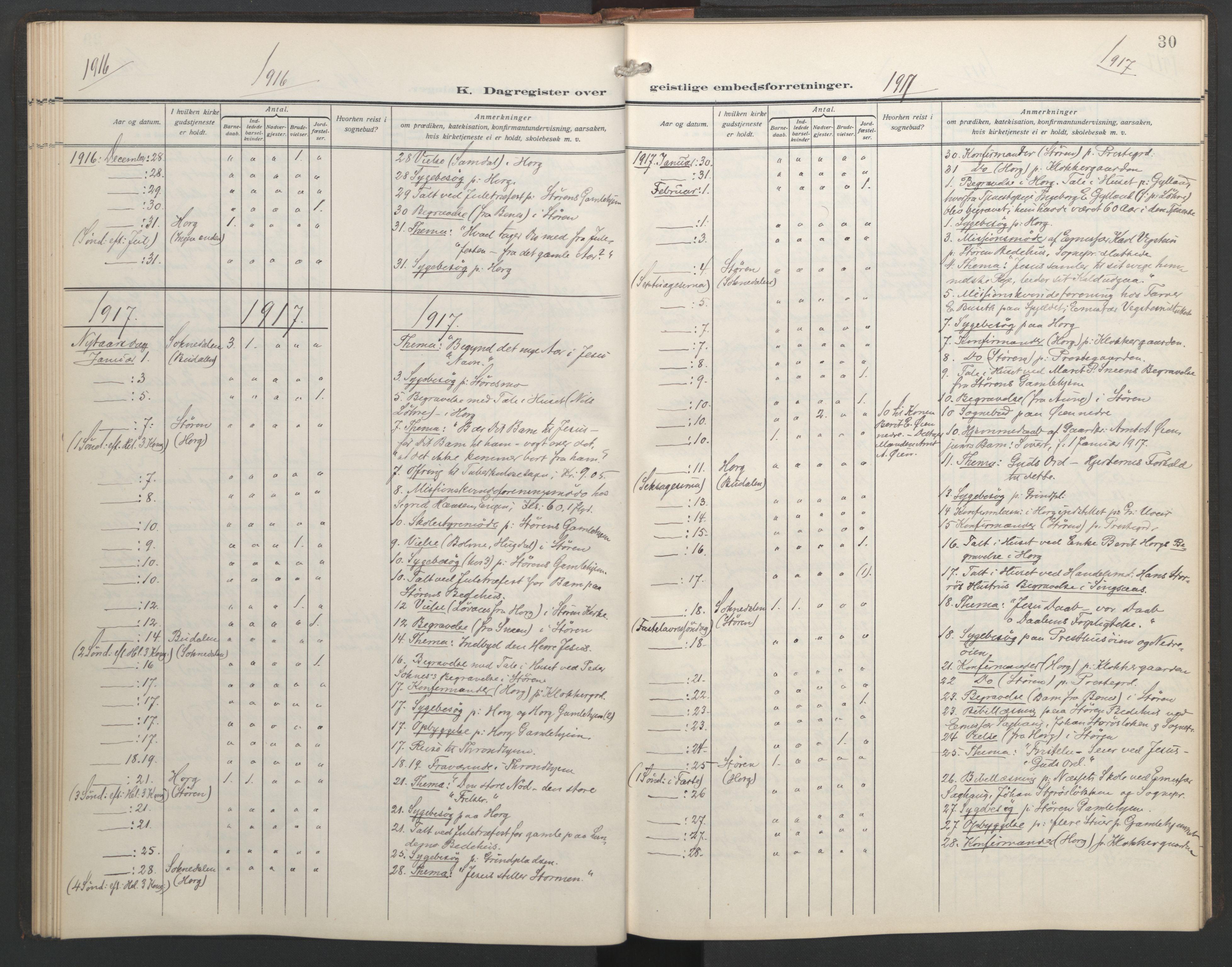 SAT, Ministerialprotokoller, klokkerbøker og fødselsregistre - Sør-Trøndelag, 687/L1006: Dagregister nr. 687A12, 1912-1931, s. 30