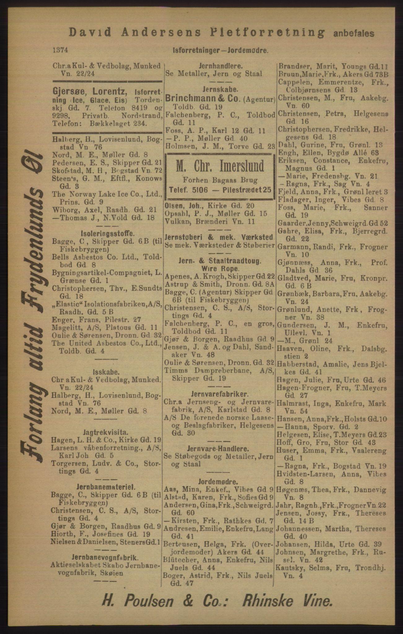 RA, Kristiania adressebok (publikasjon)*, 1905, s. 1374