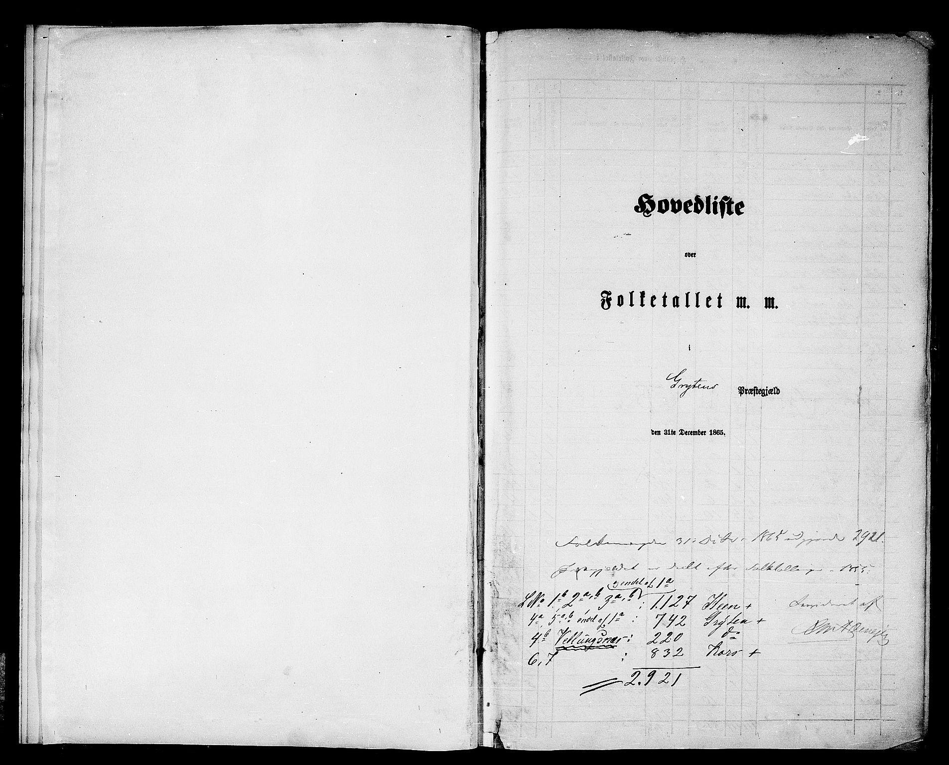 RA, Folketelling 1865 for 1539P Grytten prestegjeld, 1865, s. 5