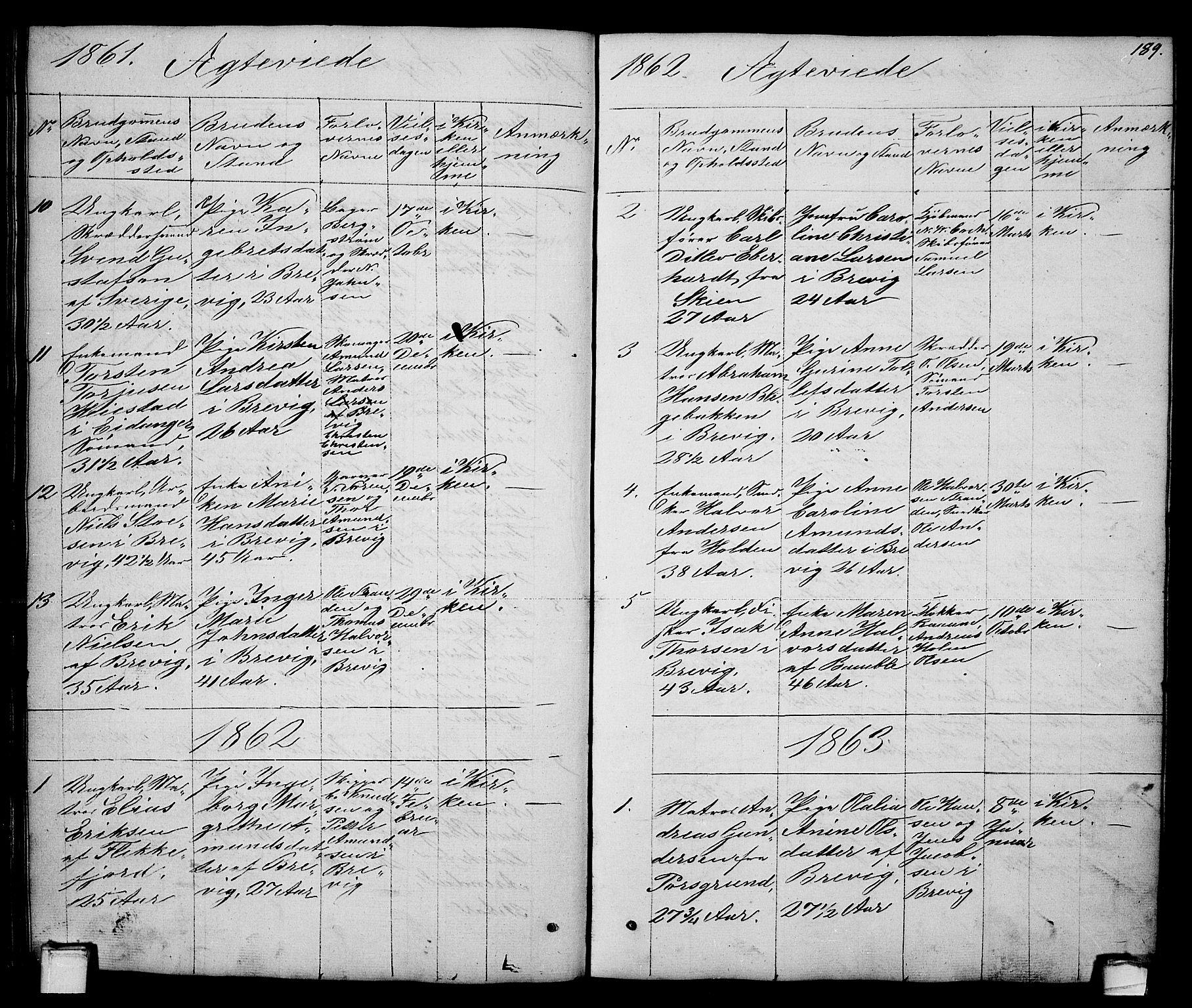 SAKO, Brevik kirkebøker, G/Ga/L0002: Klokkerbok nr. 2, 1846-1865, s. 189