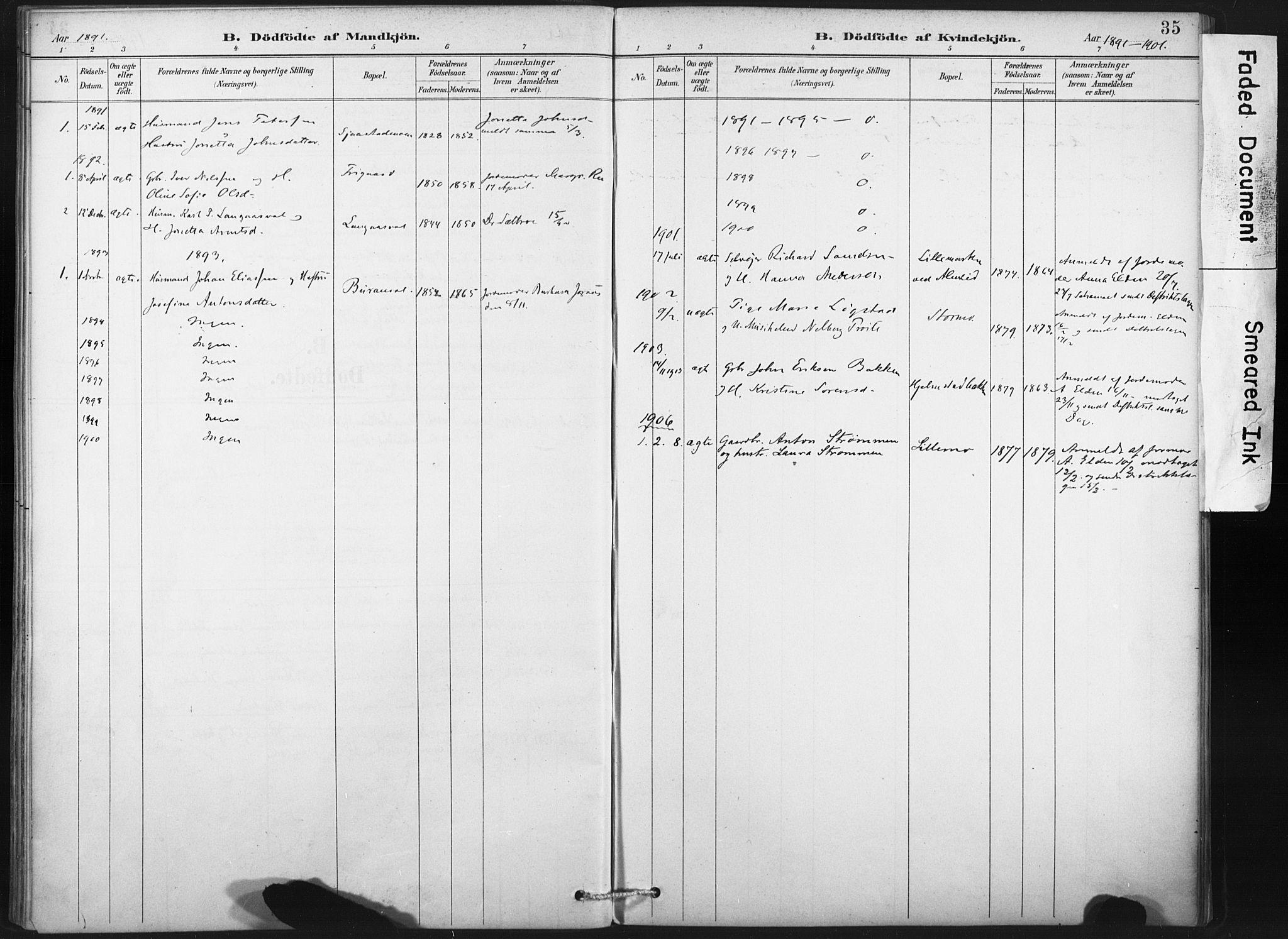 SAT, Ministerialprotokoller, klokkerbøker og fødselsregistre - Nord-Trøndelag, 718/L0175: Ministerialbok nr. 718A01, 1890-1923, s. 35