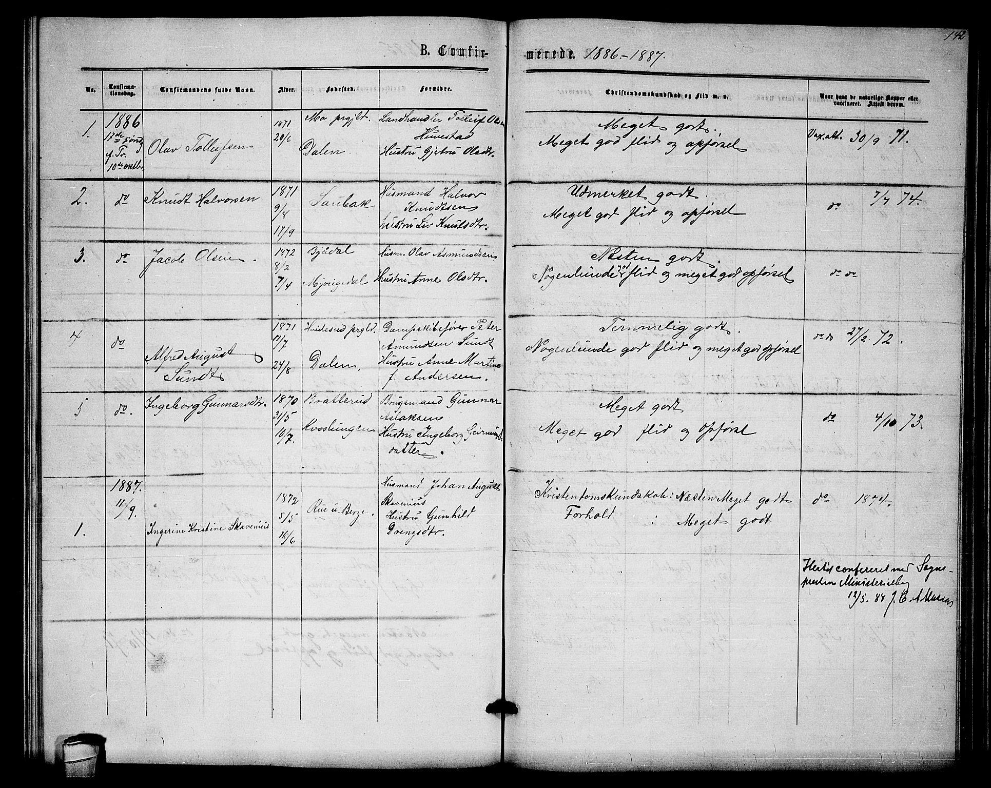 SAKO, Lårdal kirkebøker, G/Gb/L0002: Klokkerbok nr. II 2, 1865-1888, s. 142