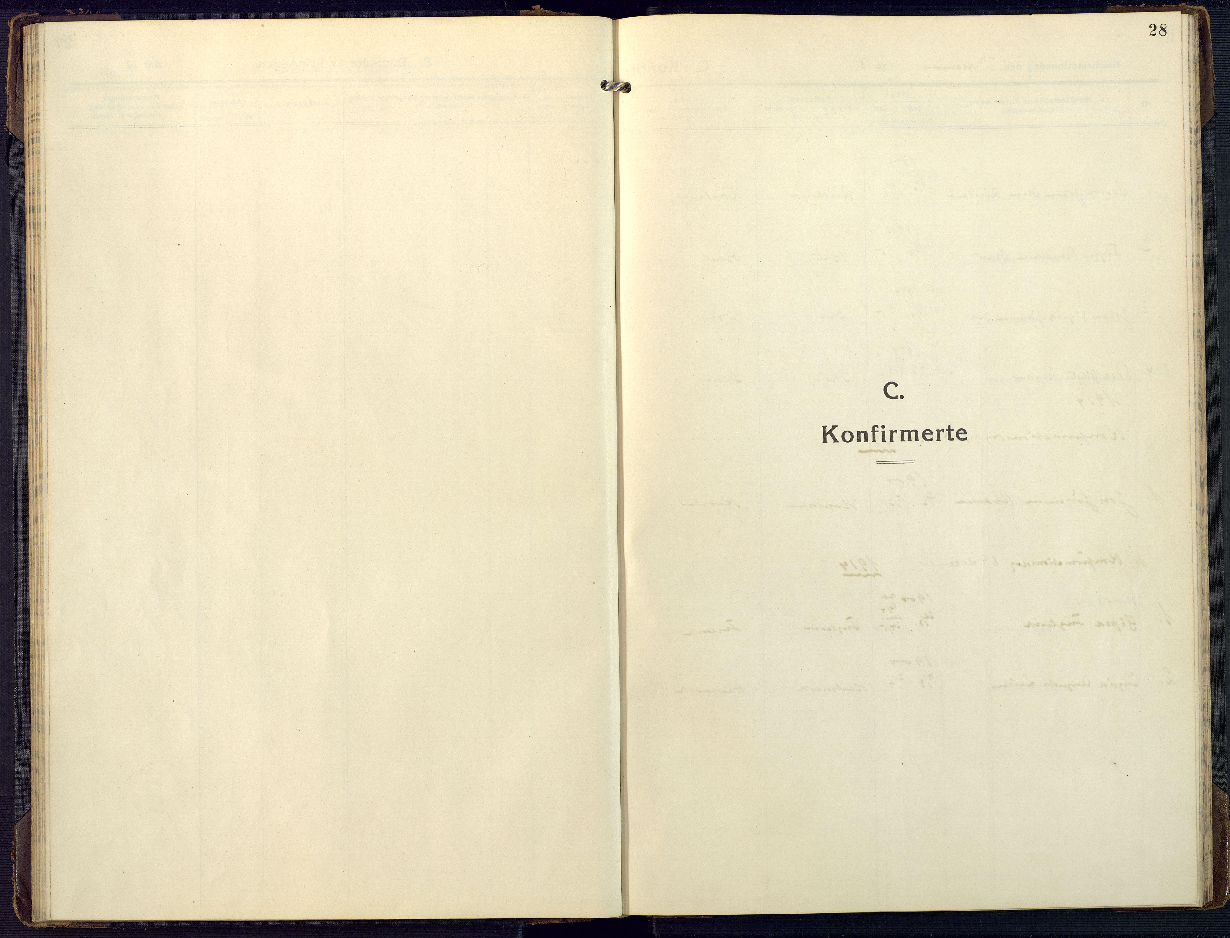 SAK, Mandal sokneprestkontor, F/Fa/Fab/L0003: Ministerialbok nr. A 3, 1913-1933, s. 28
