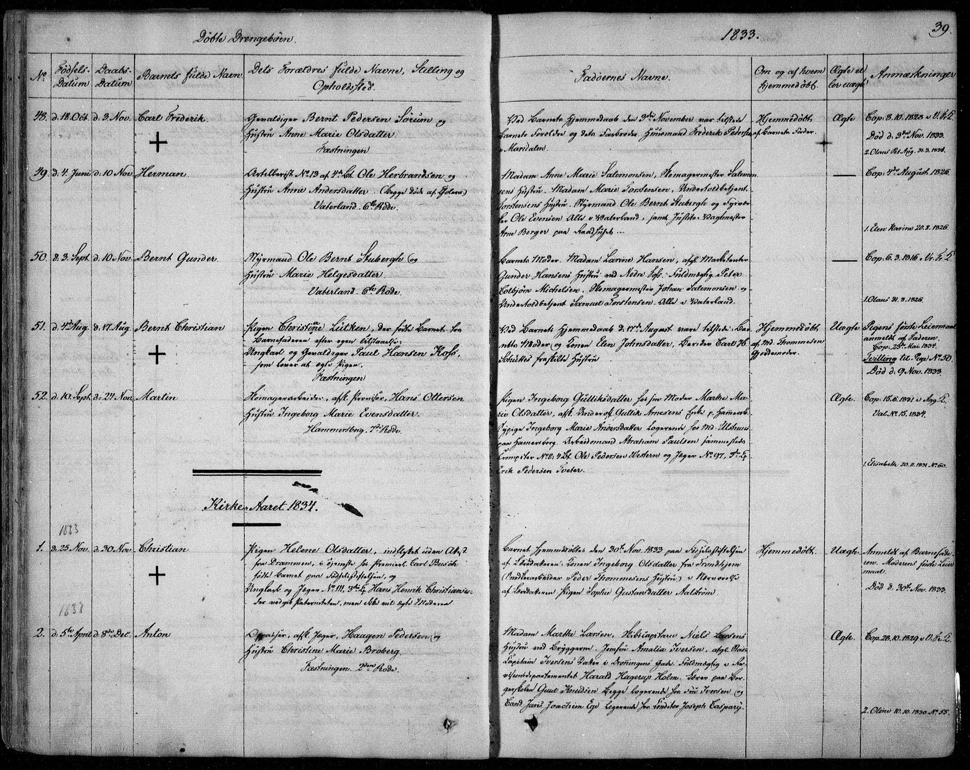 SAO, Garnisonsmenigheten Kirkebøker, F/Fa/L0006: Ministerialbok nr. 6, 1828-1841, s. 39
