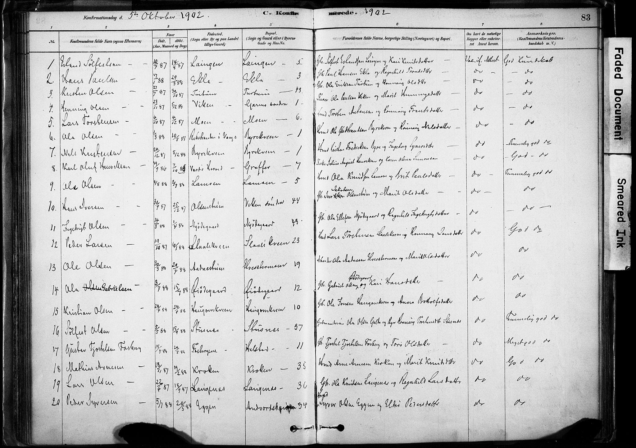SAH, Lom prestekontor, K/L0009: Ministerialbok nr. 9, 1878-1907, s. 83