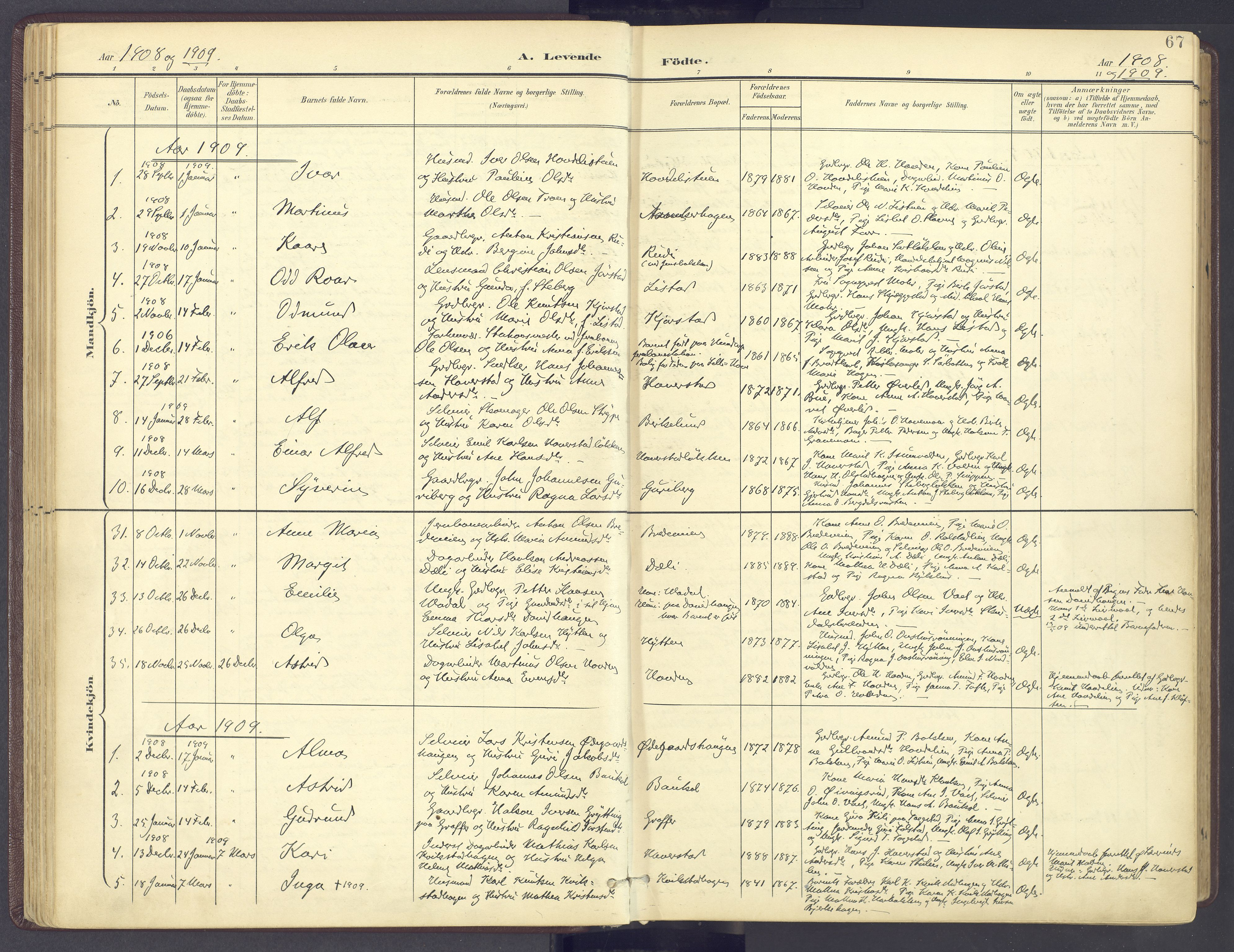 SAH, Sør-Fron prestekontor, H/Ha/Haa/L0004: Ministerialbok nr. 4, 1898-1919, s. 67