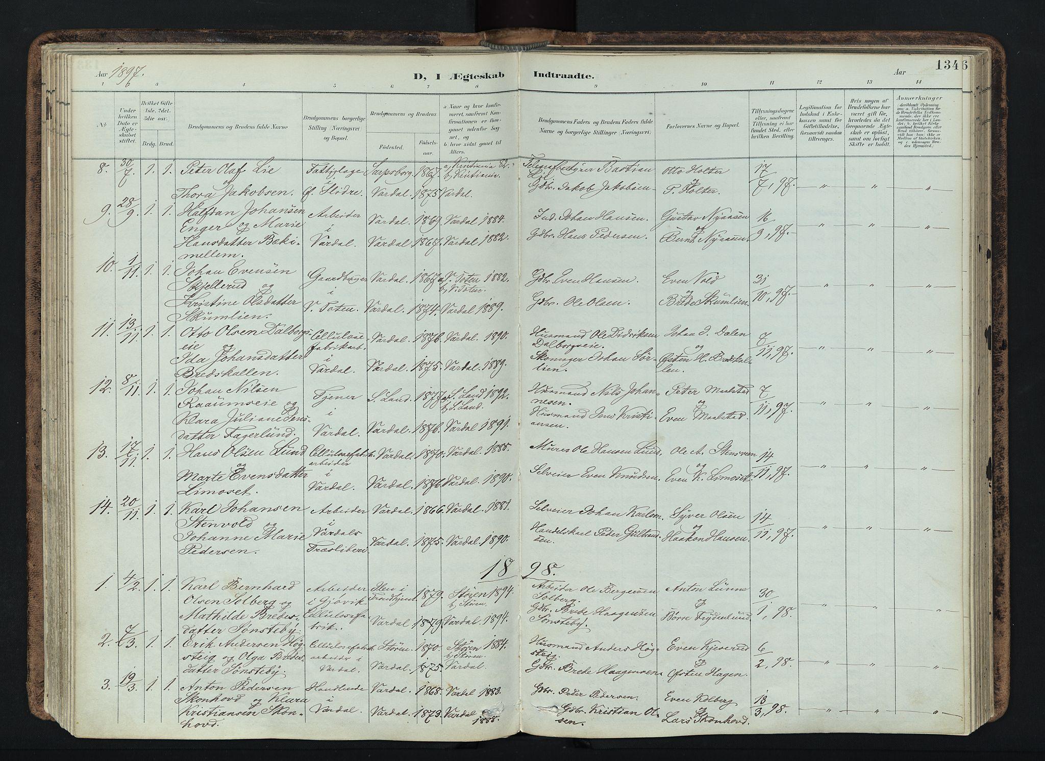 SAH, Vardal prestekontor, H/Ha/Haa/L0019: Ministerialbok nr. 19, 1893-1907, s. 134