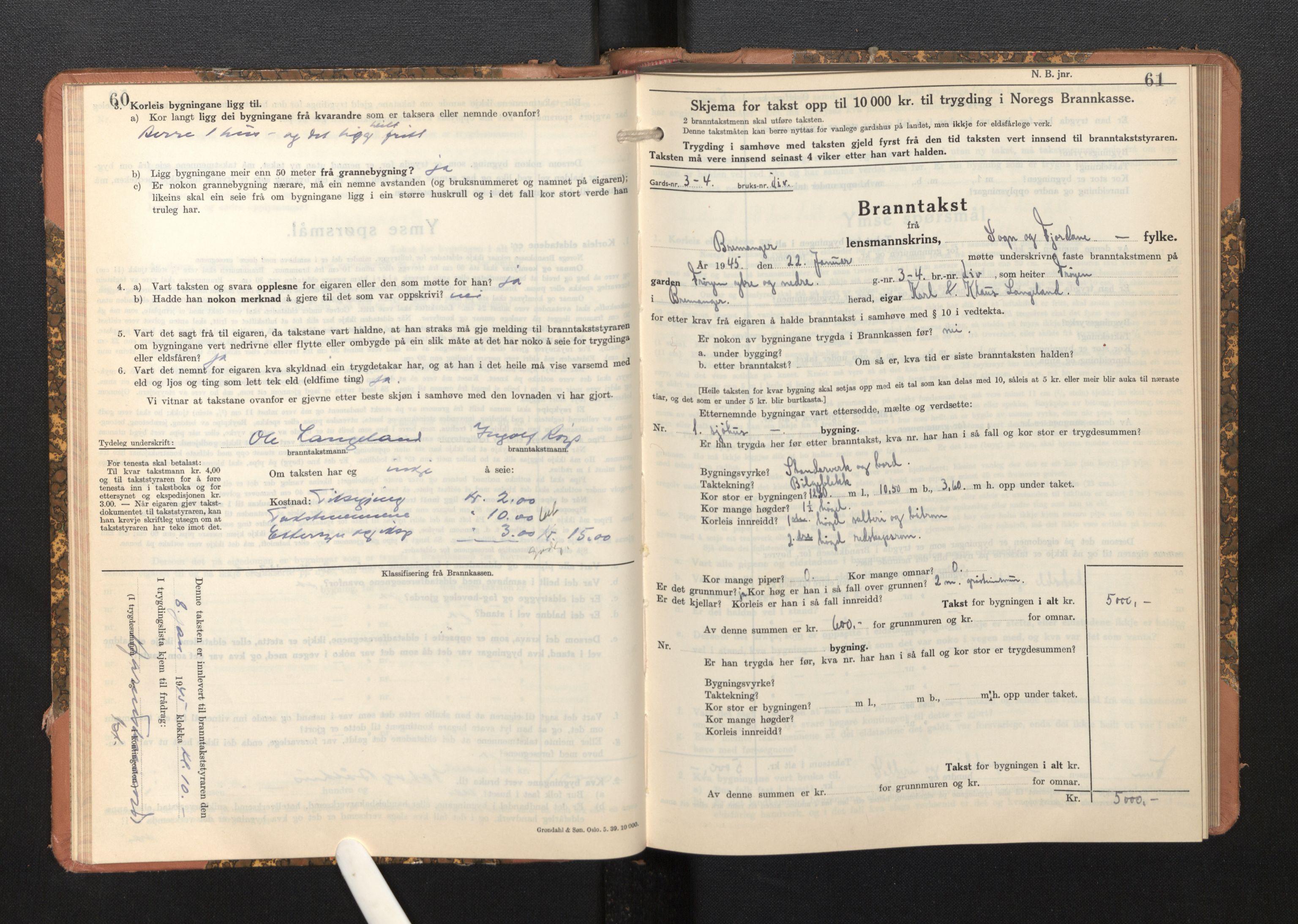 SAB, Lensmannen i Bremanger, 0012/L0009: Branntakstprotokoll, skjematakst, 1943-1950, s. 60-61