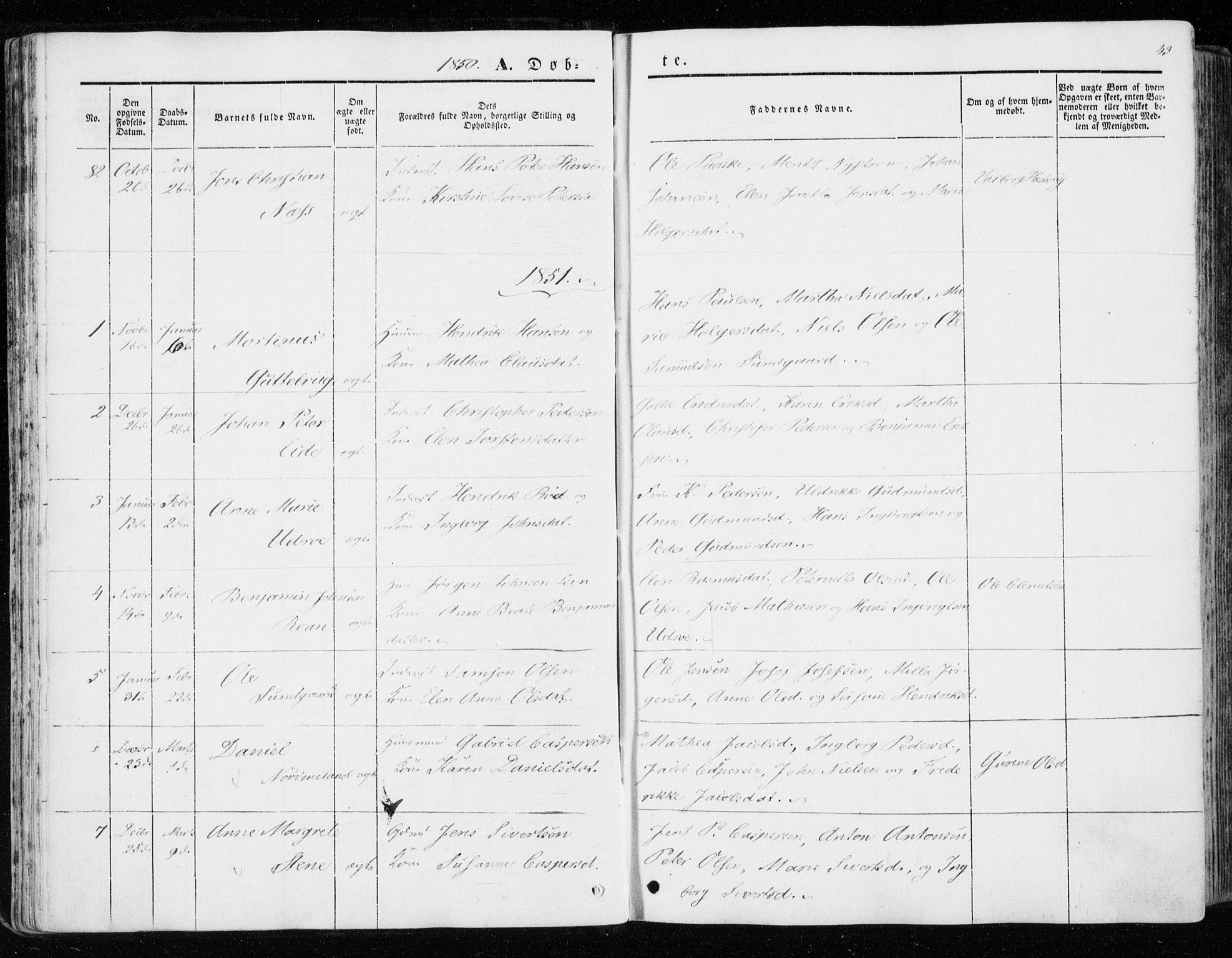 SAT, Ministerialprotokoller, klokkerbøker og fødselsregistre - Sør-Trøndelag, 657/L0704: Ministerialbok nr. 657A05, 1846-1857, s. 43