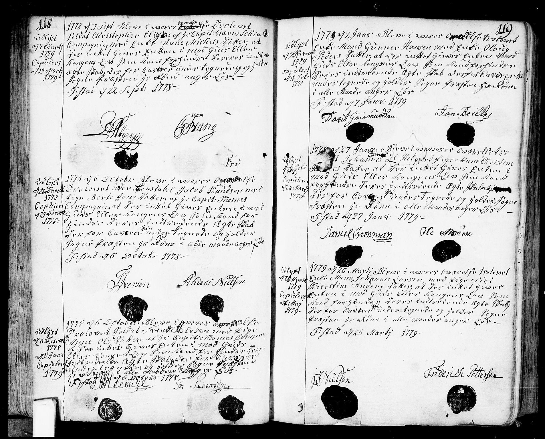 SAO, Fredrikstad prestekontor Kirkebøker, F/Fa/L0002: Ministerialbok nr. 2, 1750-1804, s. 118-119