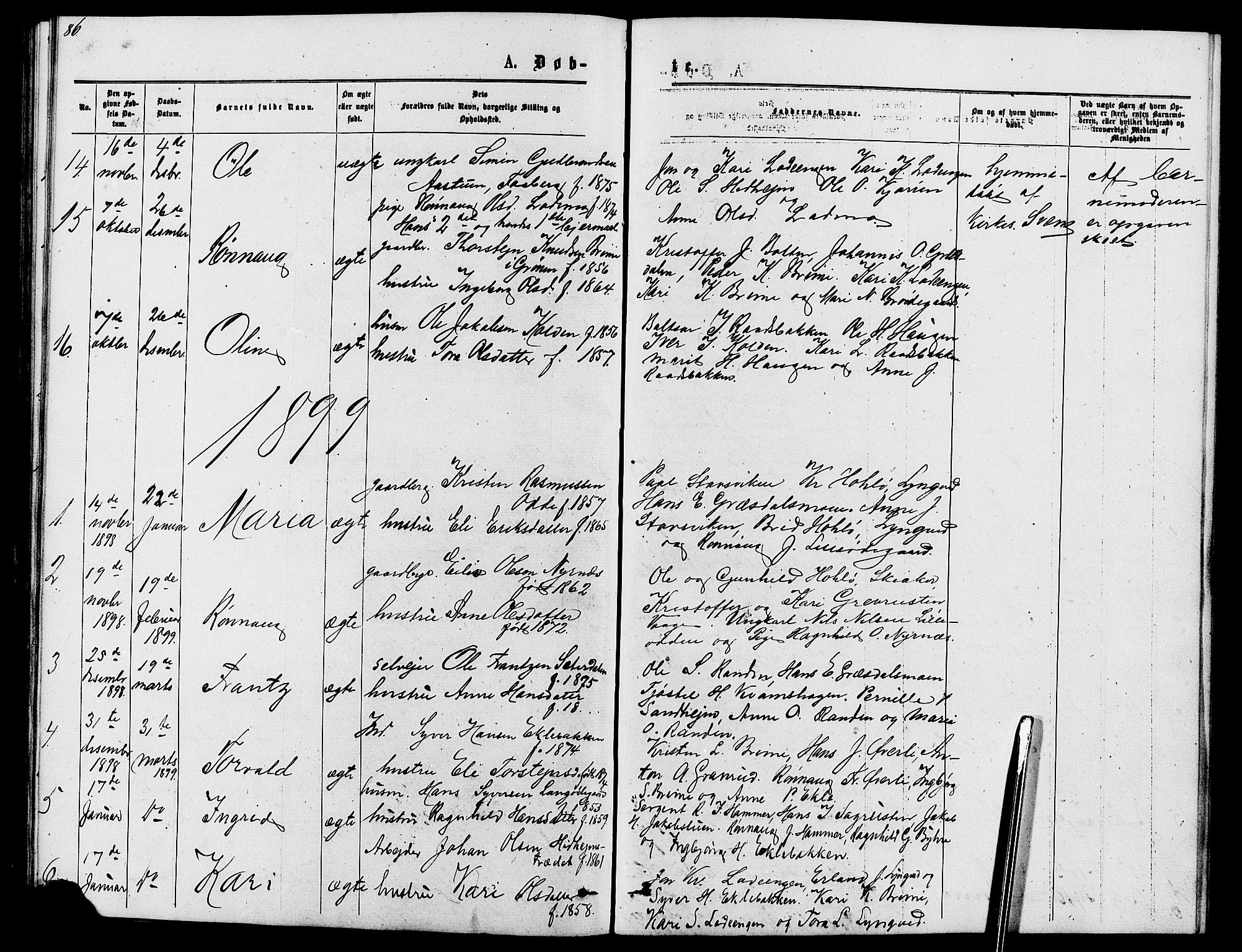 SAH, Lom prestekontor, L/L0005: Klokkerbok nr. 5, 1876-1901, s. 86-87