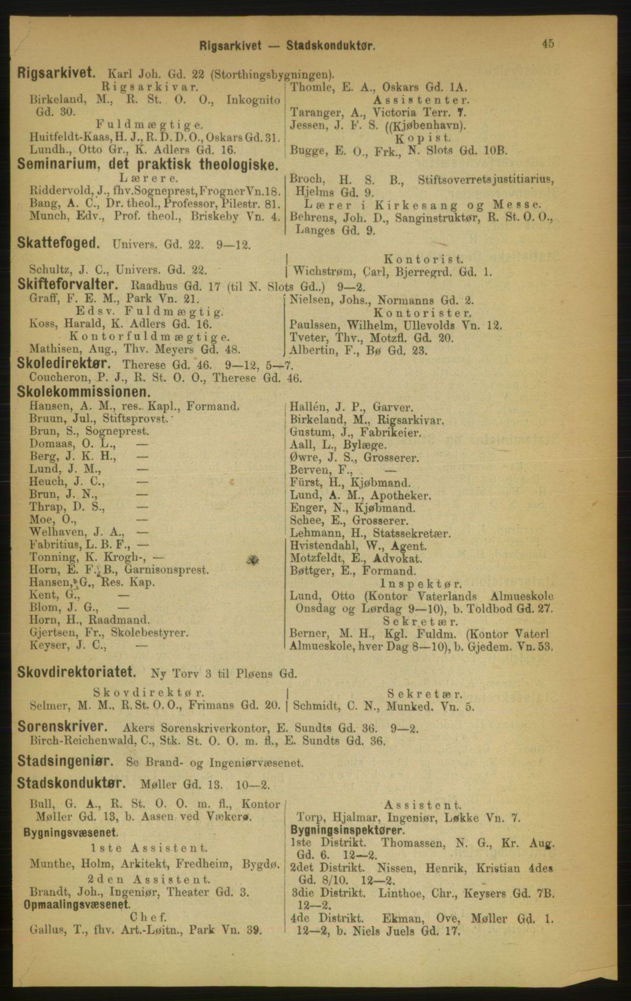 RA, Kristiania adressebok (publikasjon)*, 1889, s. 45