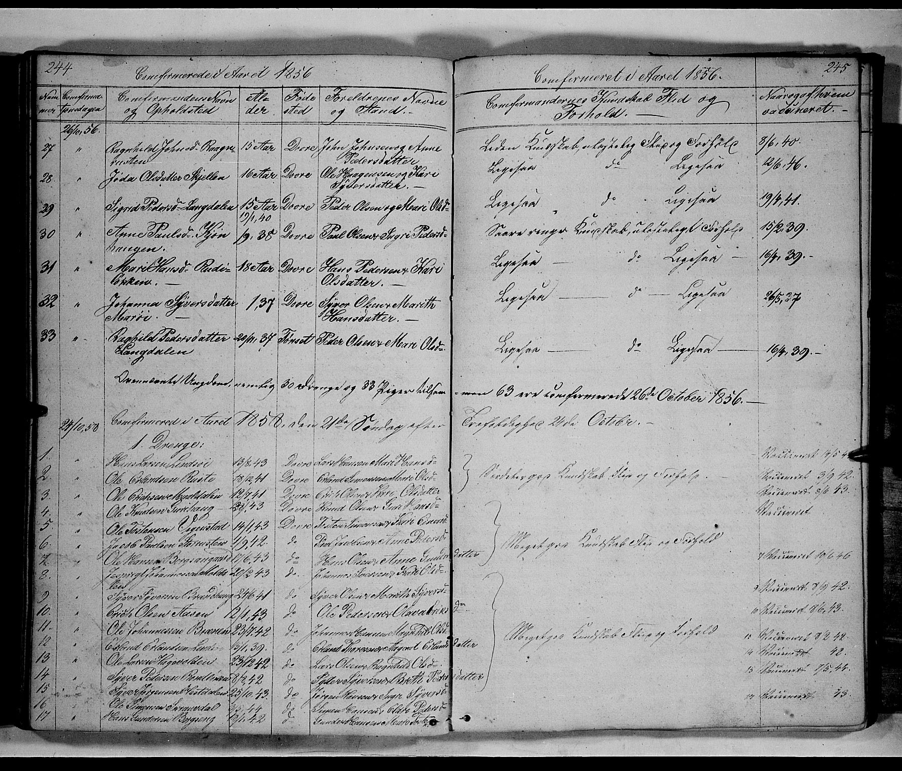 SAH, Lesja prestekontor, Klokkerbok nr. 3, 1842-1862, s. 244-245