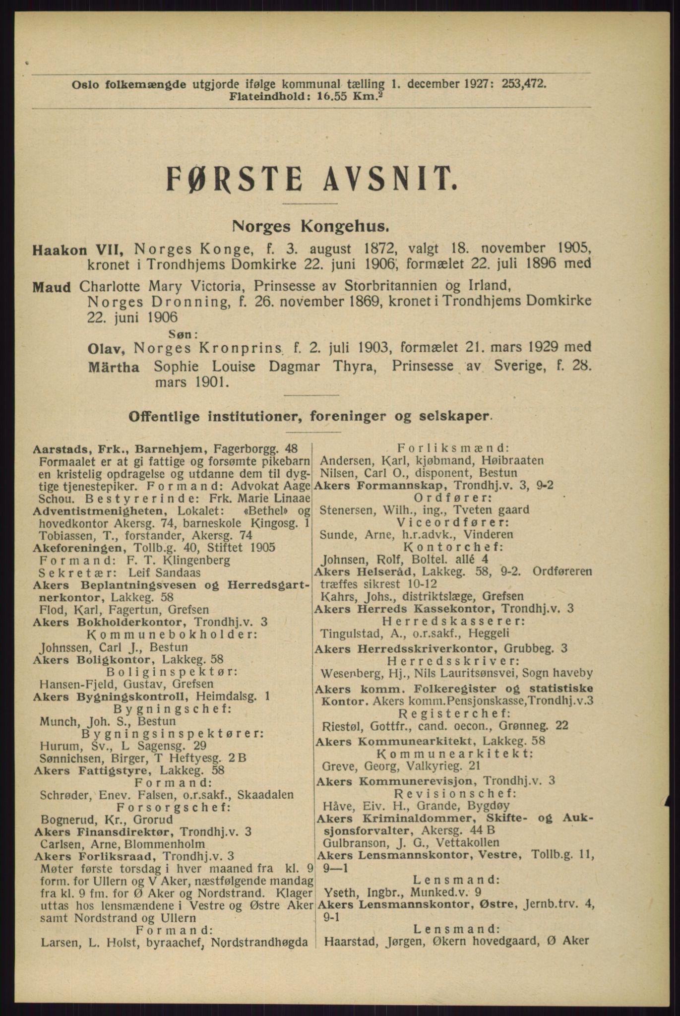RA, Oslo adressebok (publikasjon)*, 1929, s. 1