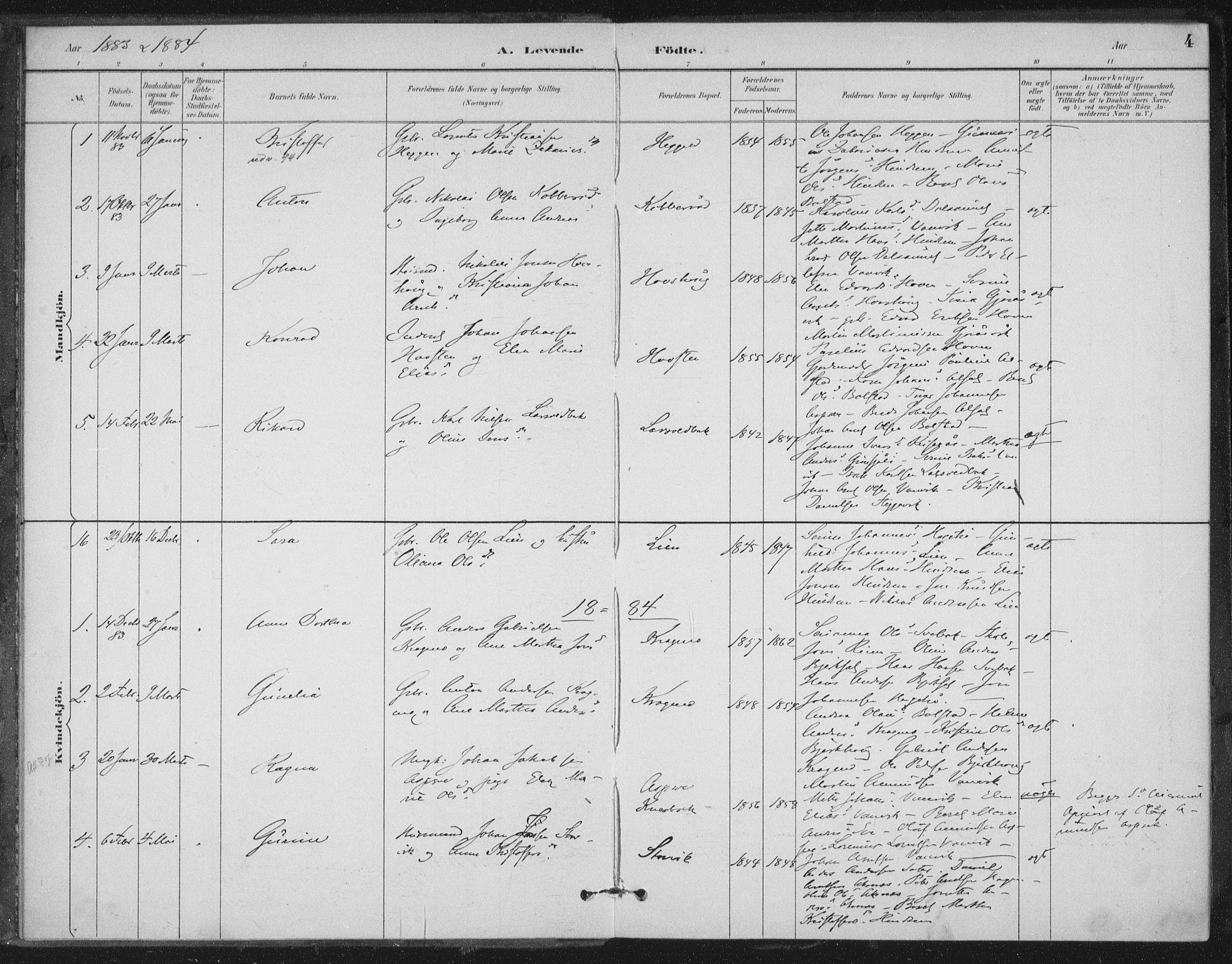 SAT, Ministerialprotokoller, klokkerbøker og fødselsregistre - Nord-Trøndelag, 702/L0023: Ministerialbok nr. 702A01, 1883-1897, s. 4