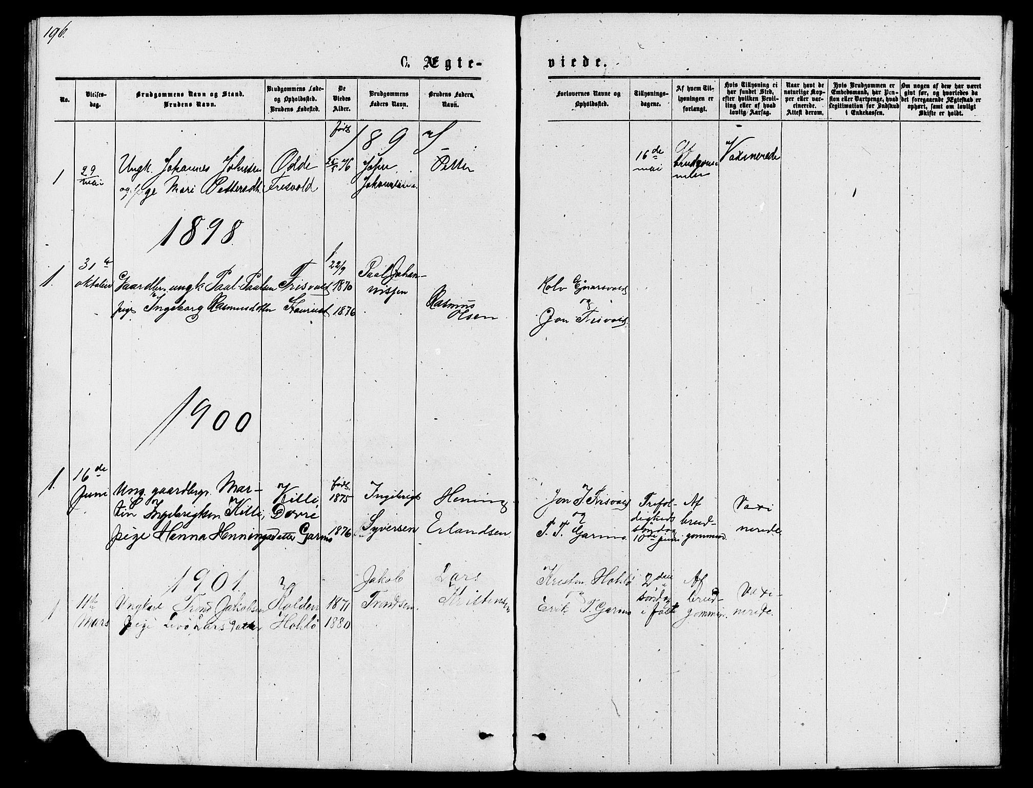 SAH, Lom prestekontor, L/L0005: Klokkerbok nr. 5, 1876-1901, s. 196-197