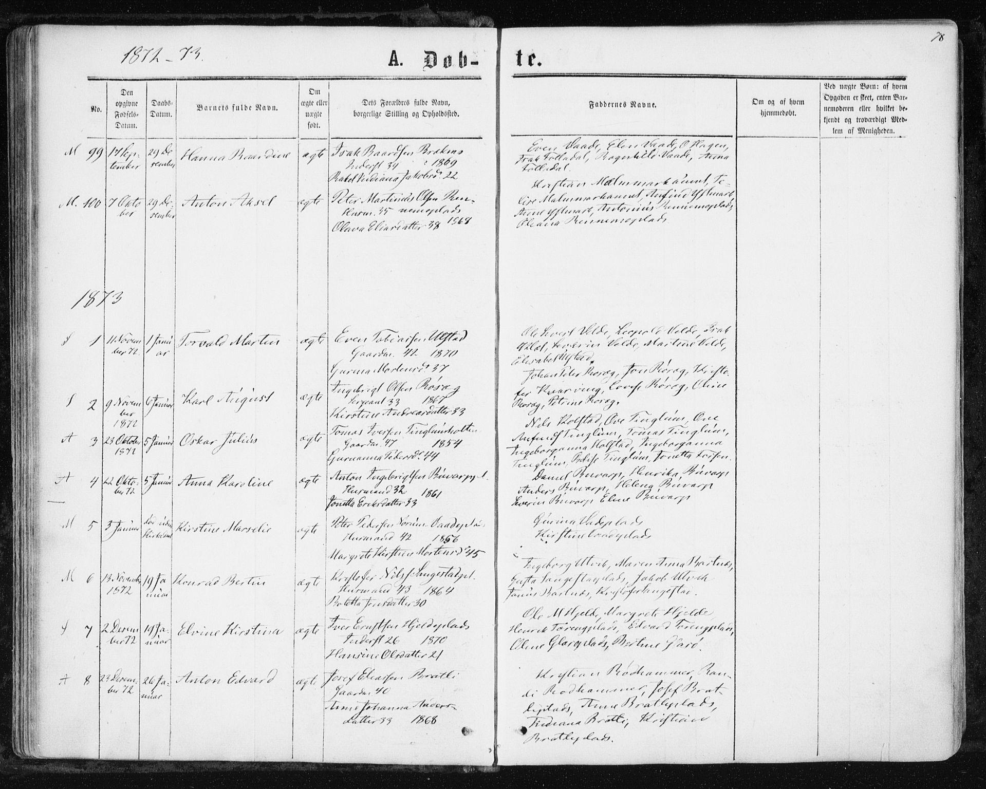 SAT, Ministerialprotokoller, klokkerbøker og fødselsregistre - Nord-Trøndelag, 741/L0394: Ministerialbok nr. 741A08, 1864-1877, s. 78