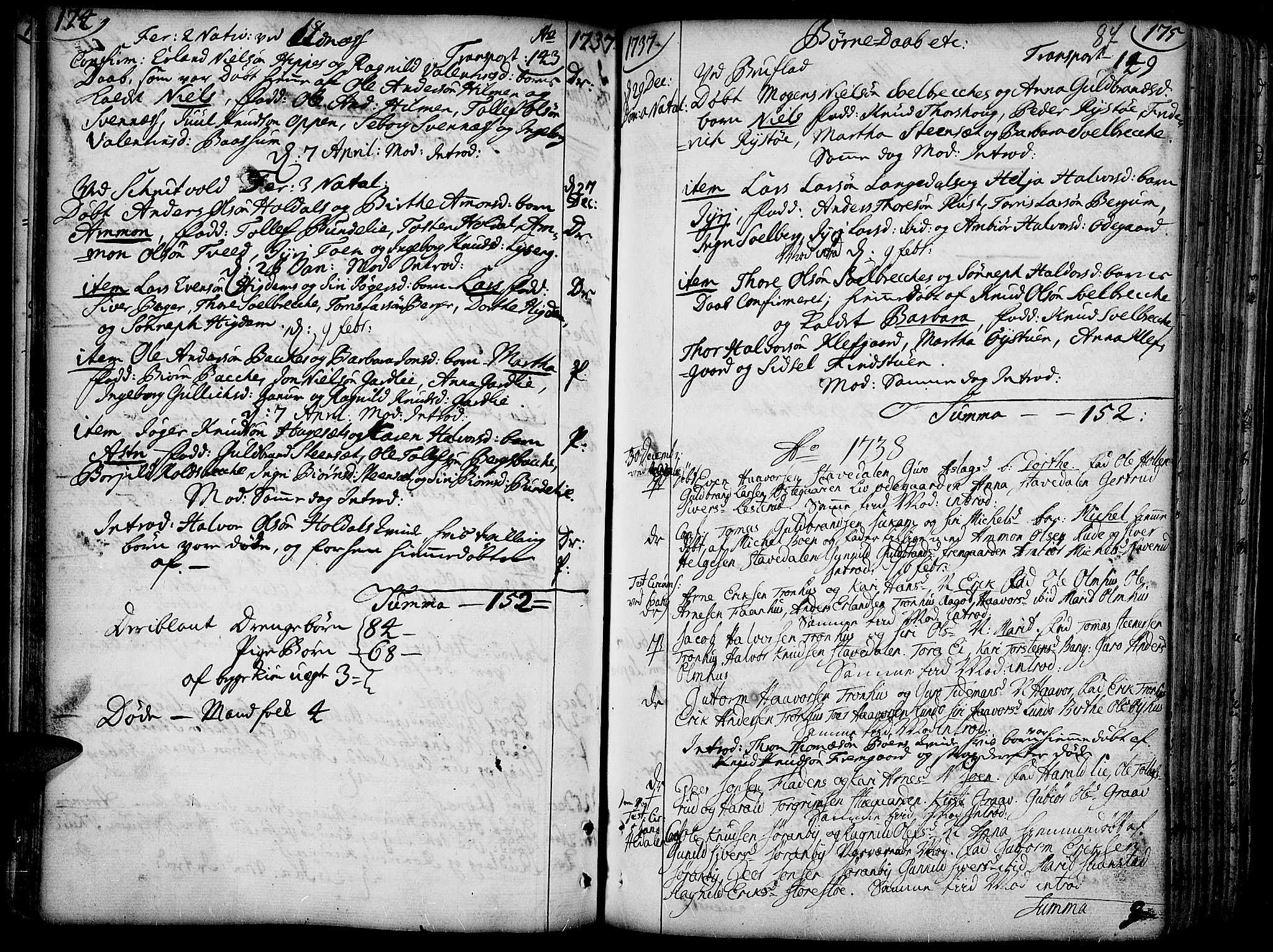 SAH, Aurdal prestekontor, Ministerialbok nr. 4, 1730-1762, s. 174-175