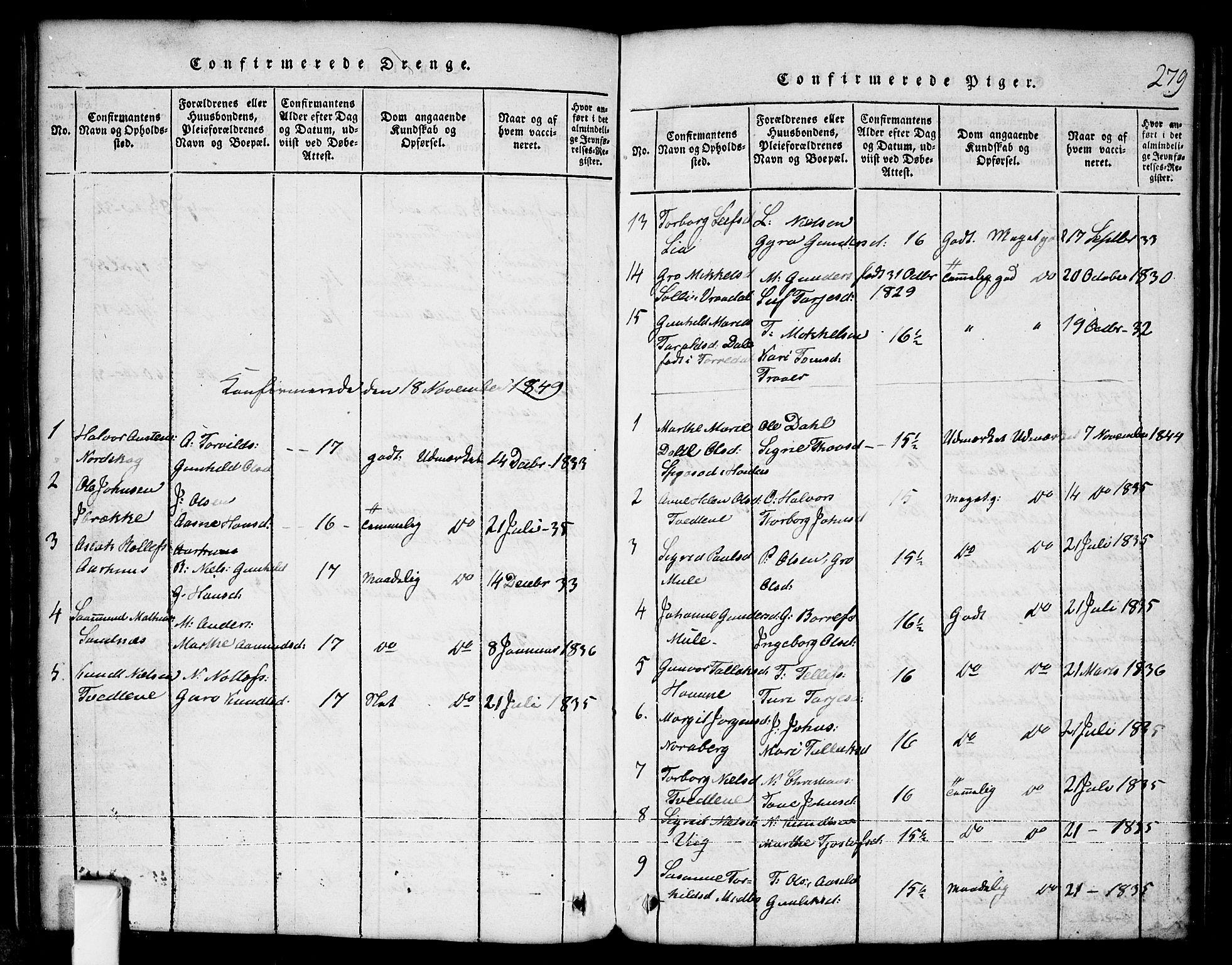 SAKO, Nissedal kirkebøker, G/Ga/L0001: Klokkerbok nr. I 1, 1814-1860, s. 279